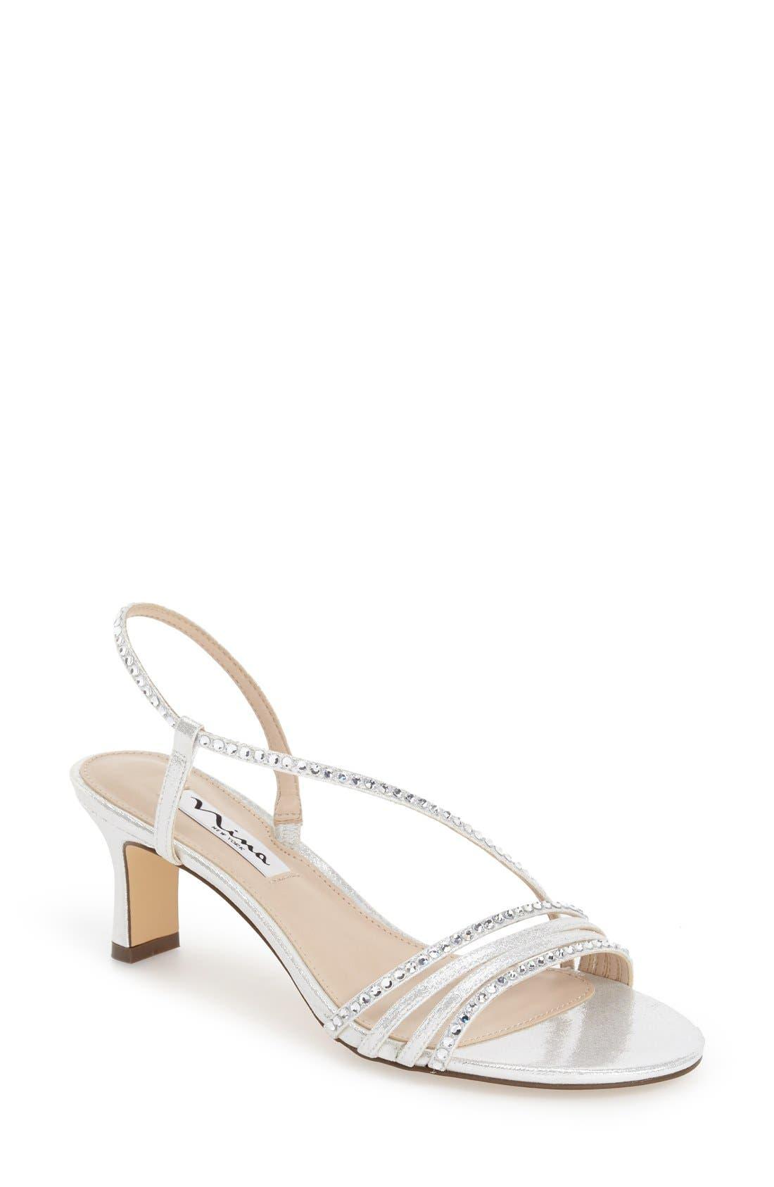 'Gerri' Embellished Slingback Sandal,                         Main,                         color, SILVER SUEDE