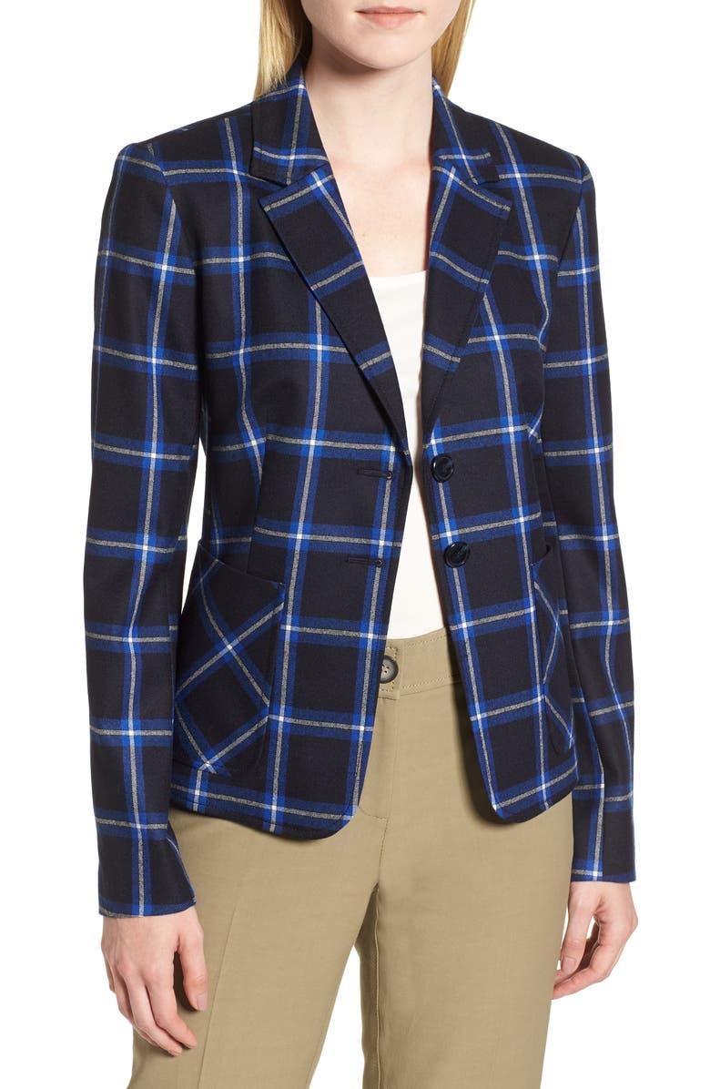 Plaid Blazer,                         Main,                         color, NAVY NIGHT CHECK