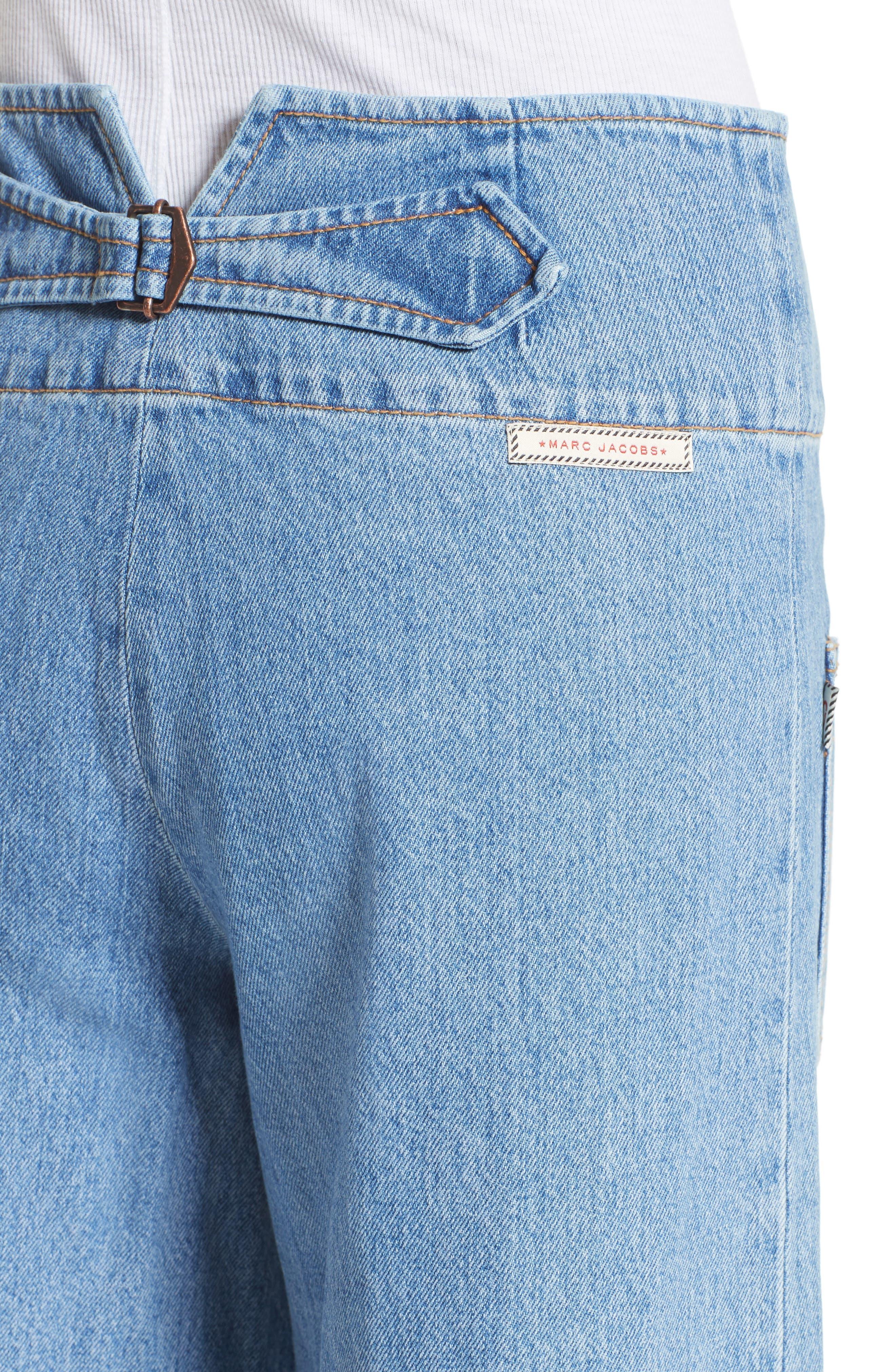 High Waist Crop Flare Jeans,                             Alternate thumbnail 4, color,                             491