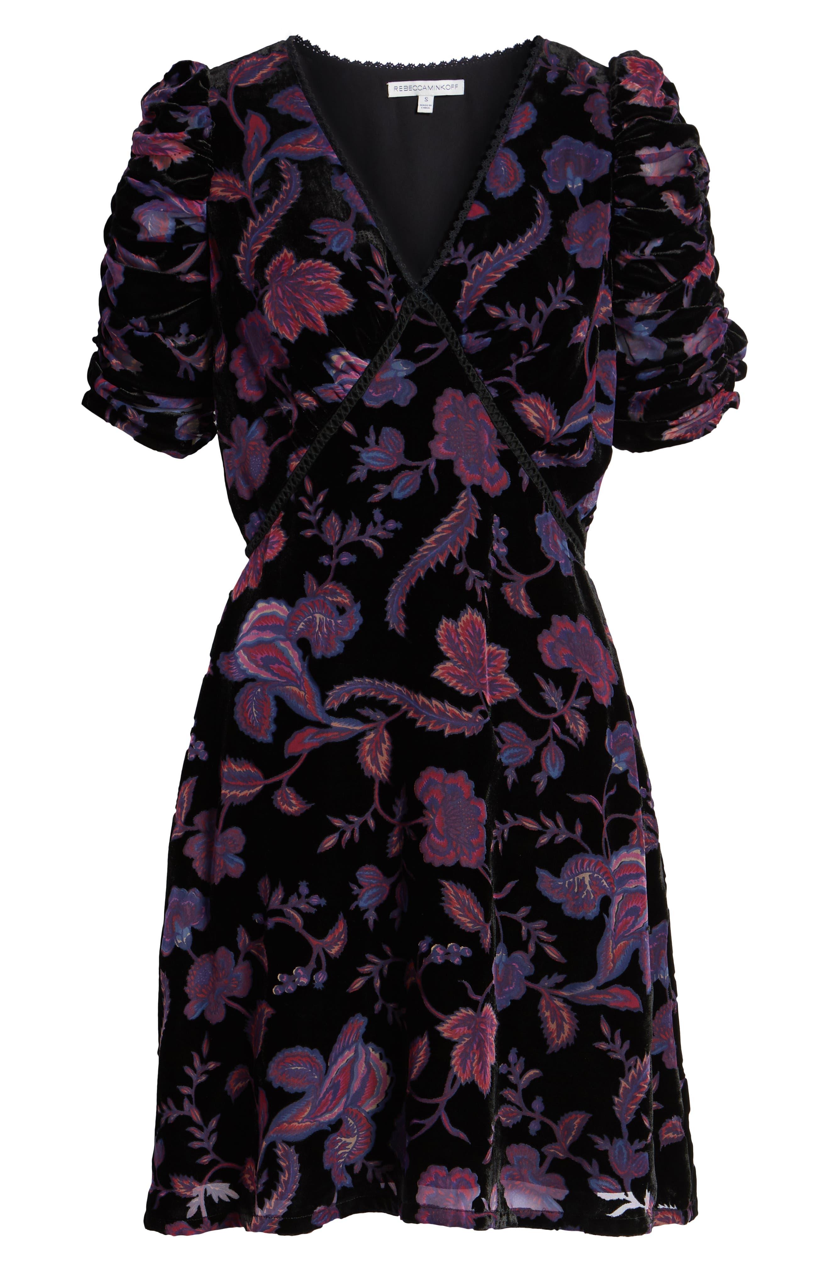 Arlette Floral Velvet Dress,                             Alternate thumbnail 7, color,                             BLACK MULTI