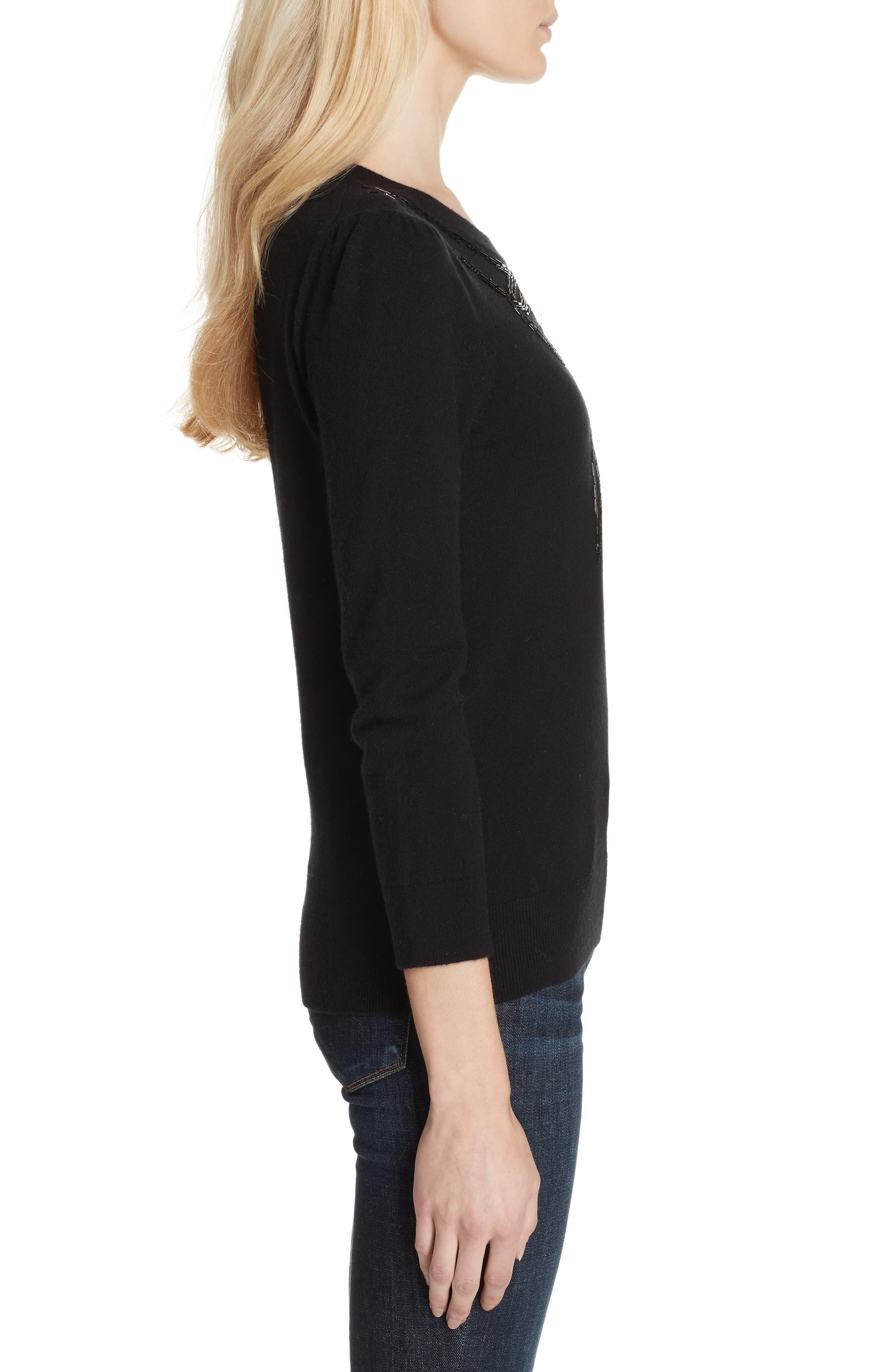 bow embellished sweater,                             Alternate thumbnail 3, color,                             BLACK