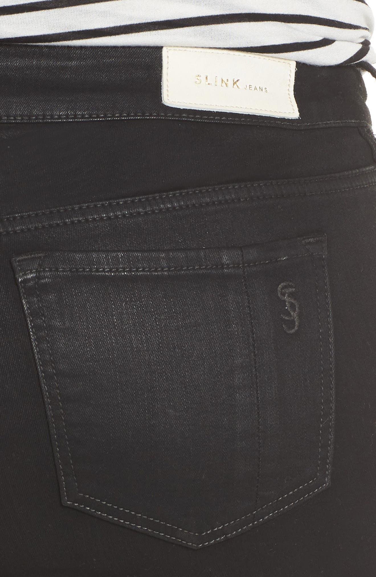 SLINK JEANS,                             Coated Straight Leg Ankle Jeans,                             Alternate thumbnail 5, color,                             007