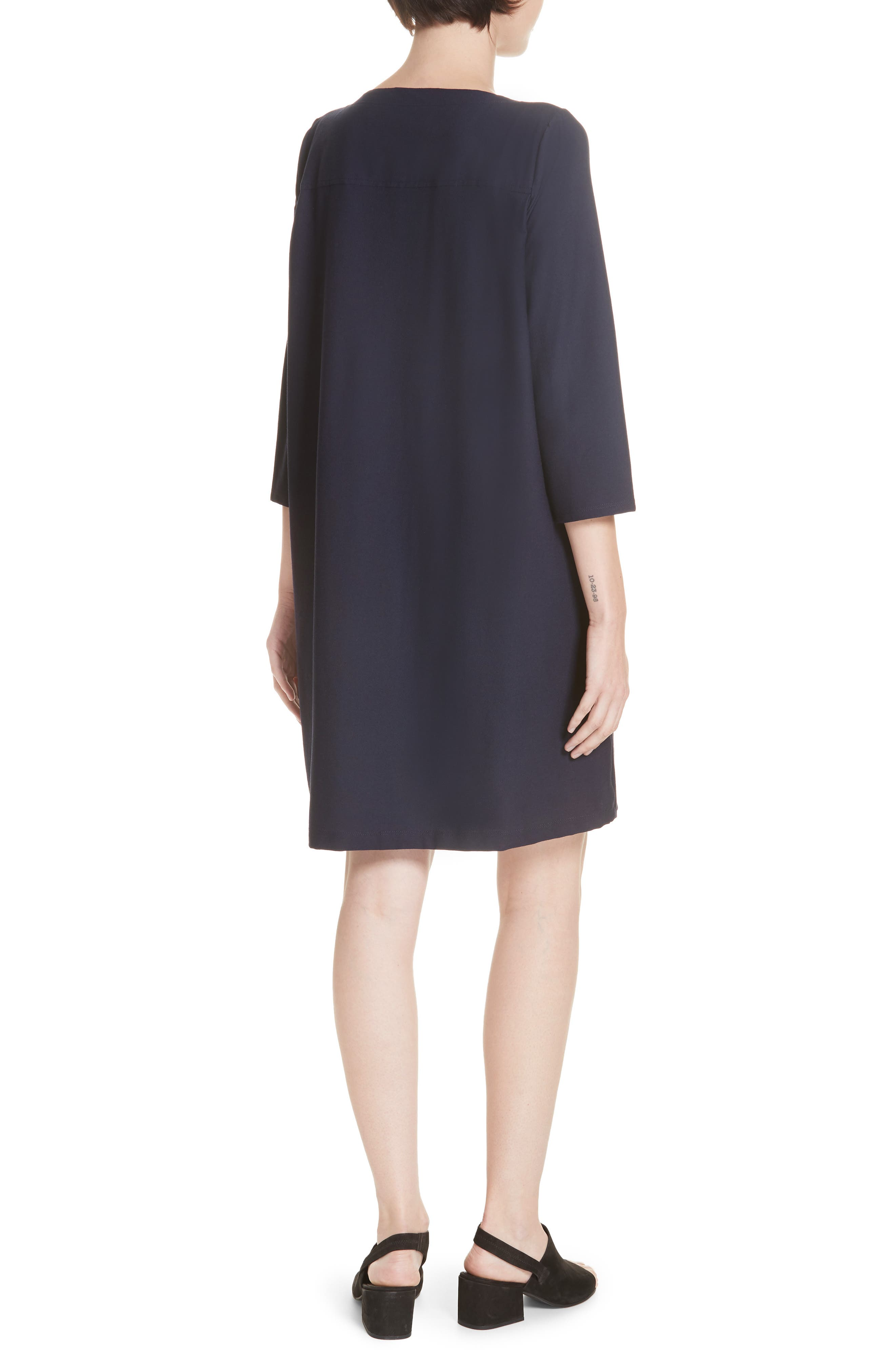 Scoop Neck Knee Length Shift Dress,                             Alternate thumbnail 2, color,                             MIDNIGHT