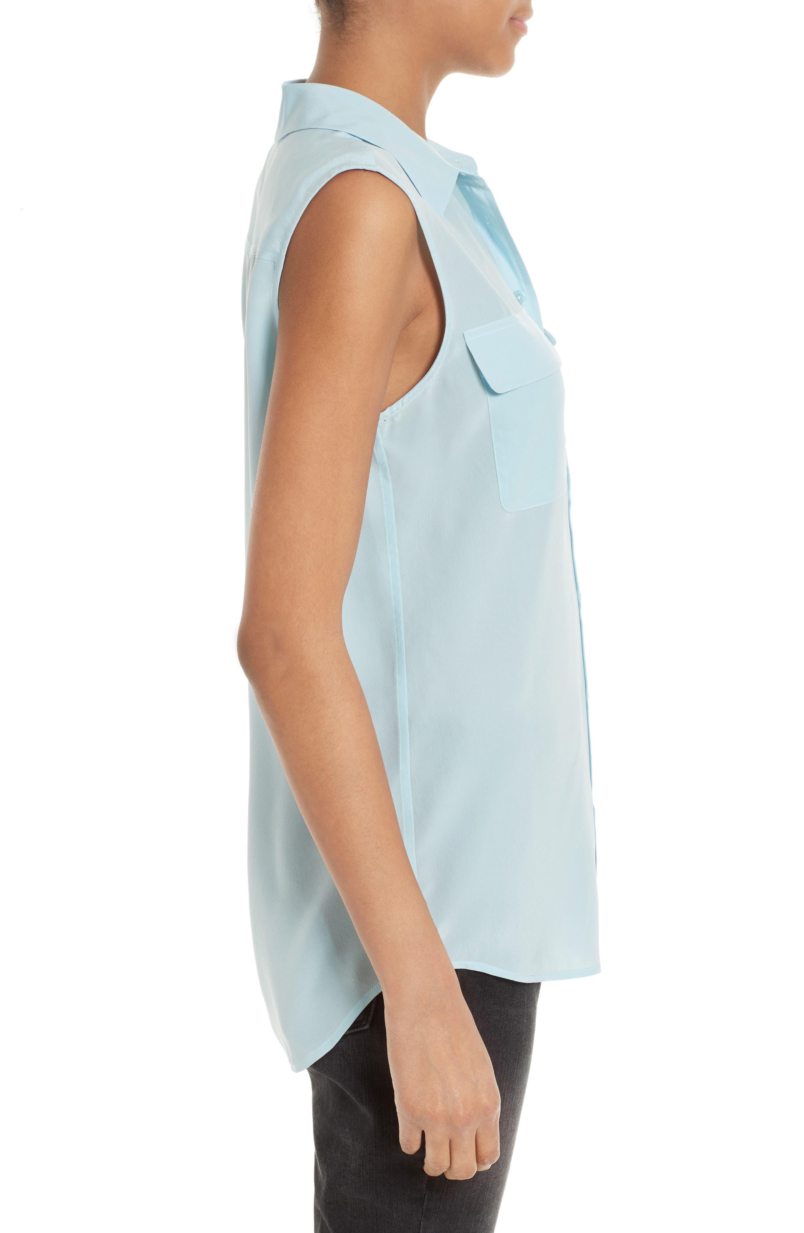 'Slim Signature' Sleeveless Silk Shirt,                             Alternate thumbnail 123, color,