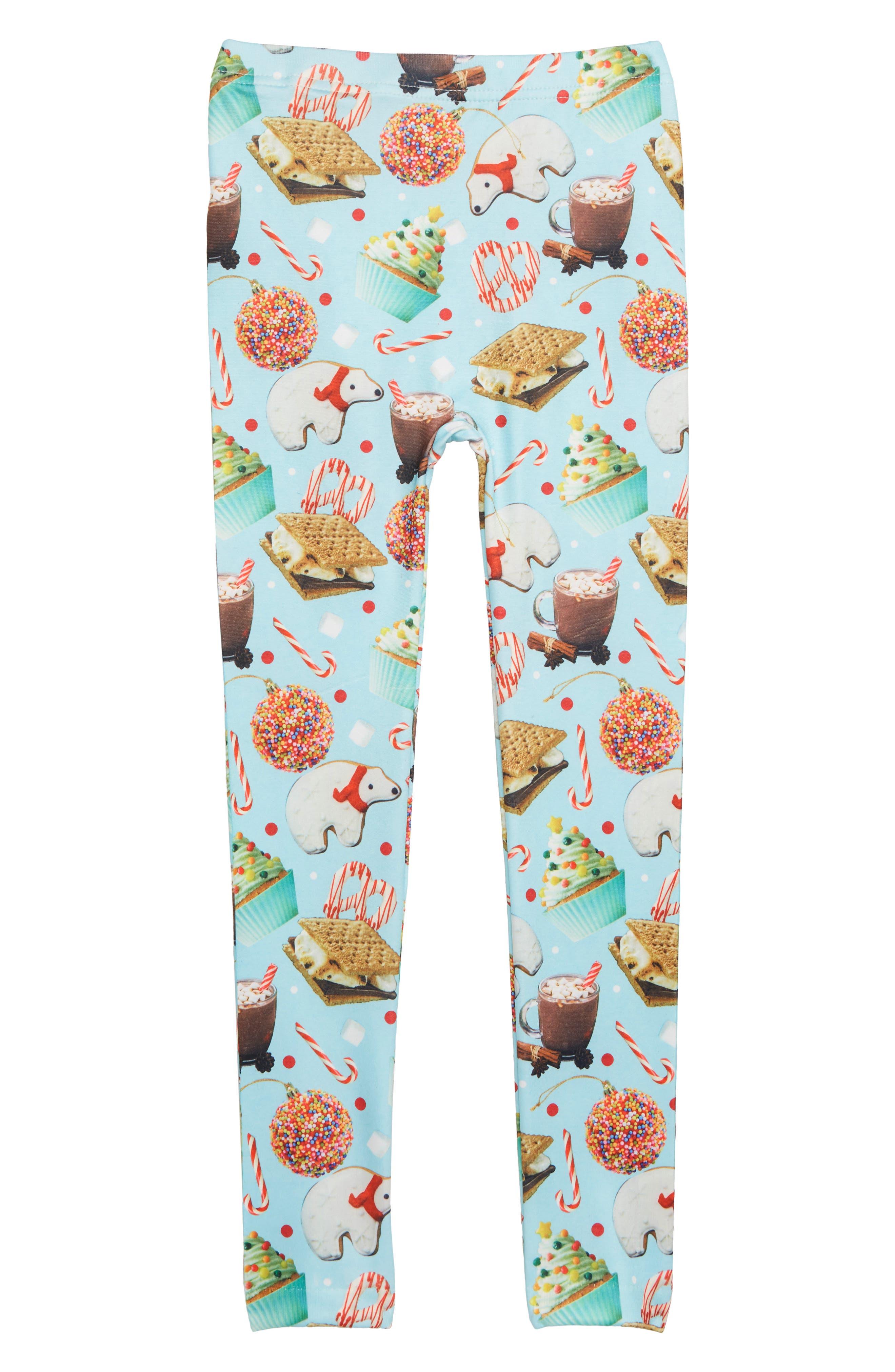 Girls Capelli New York Christmas Sweets Fleece Leggings Size XSS (46)  Blue