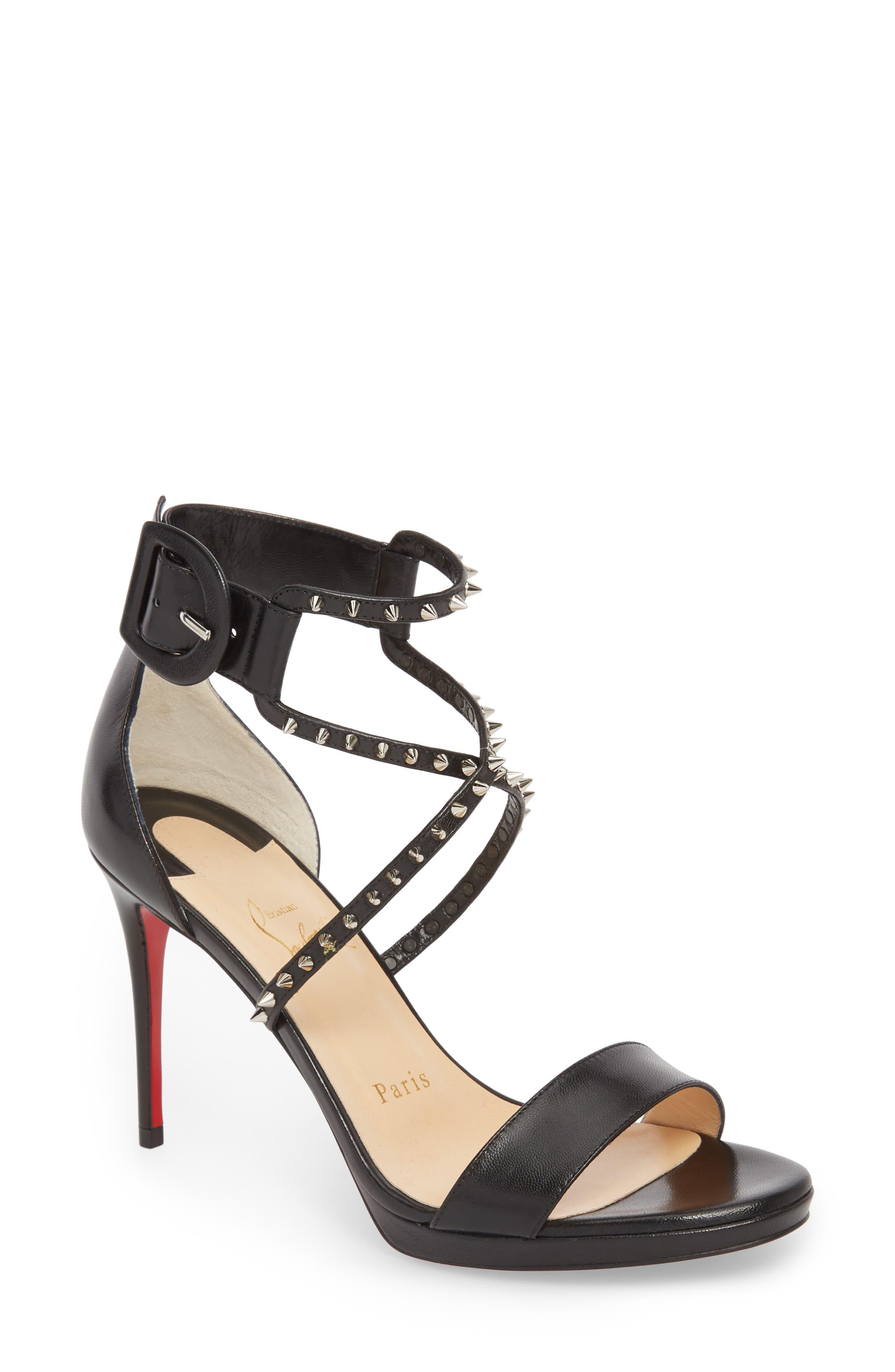 Choca Lux Spiked Sandal,                             Main thumbnail 1, color,                             BLACK