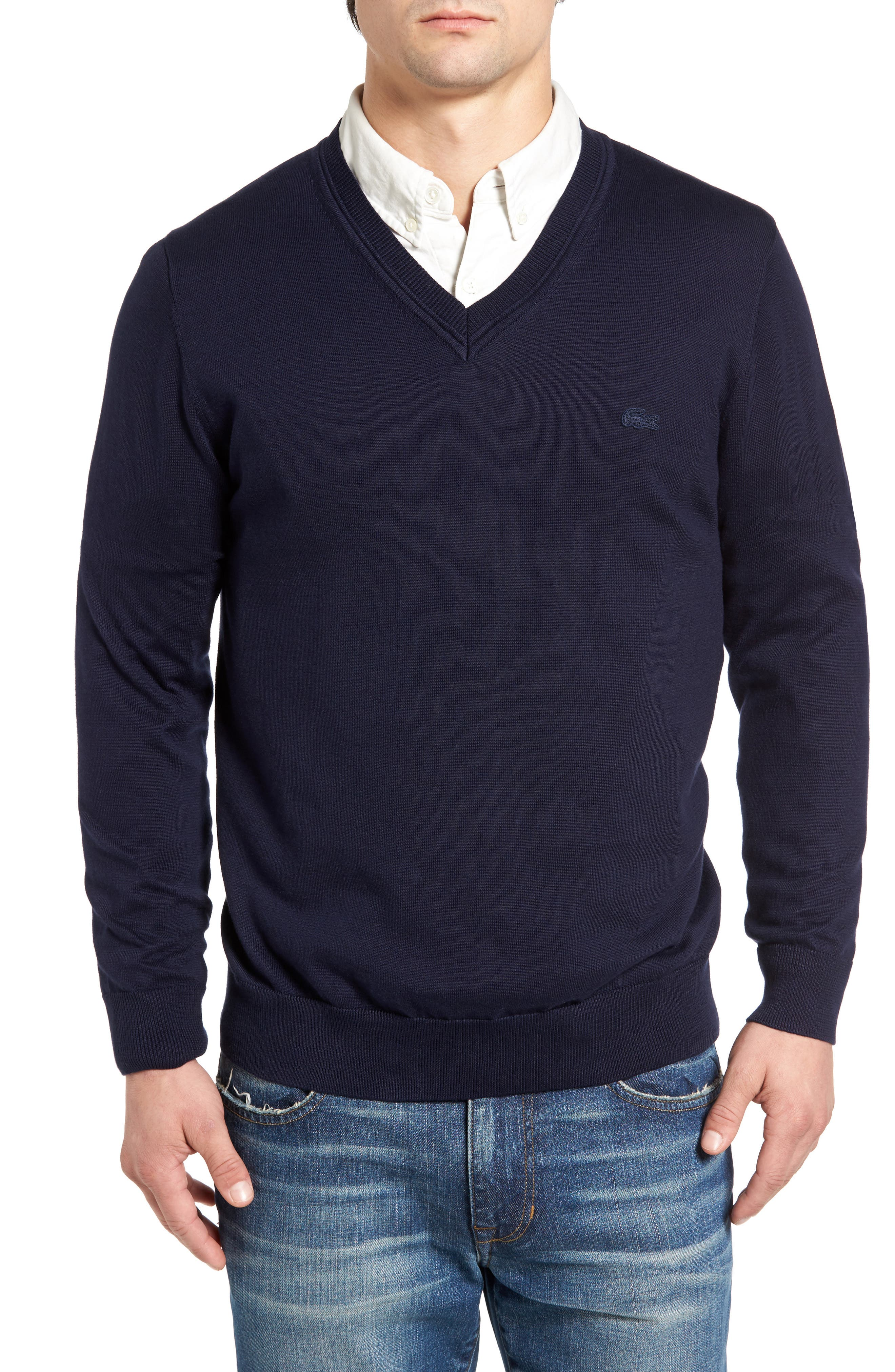 Cotton Jersey V-Neck Sweater,                             Main thumbnail 5, color,