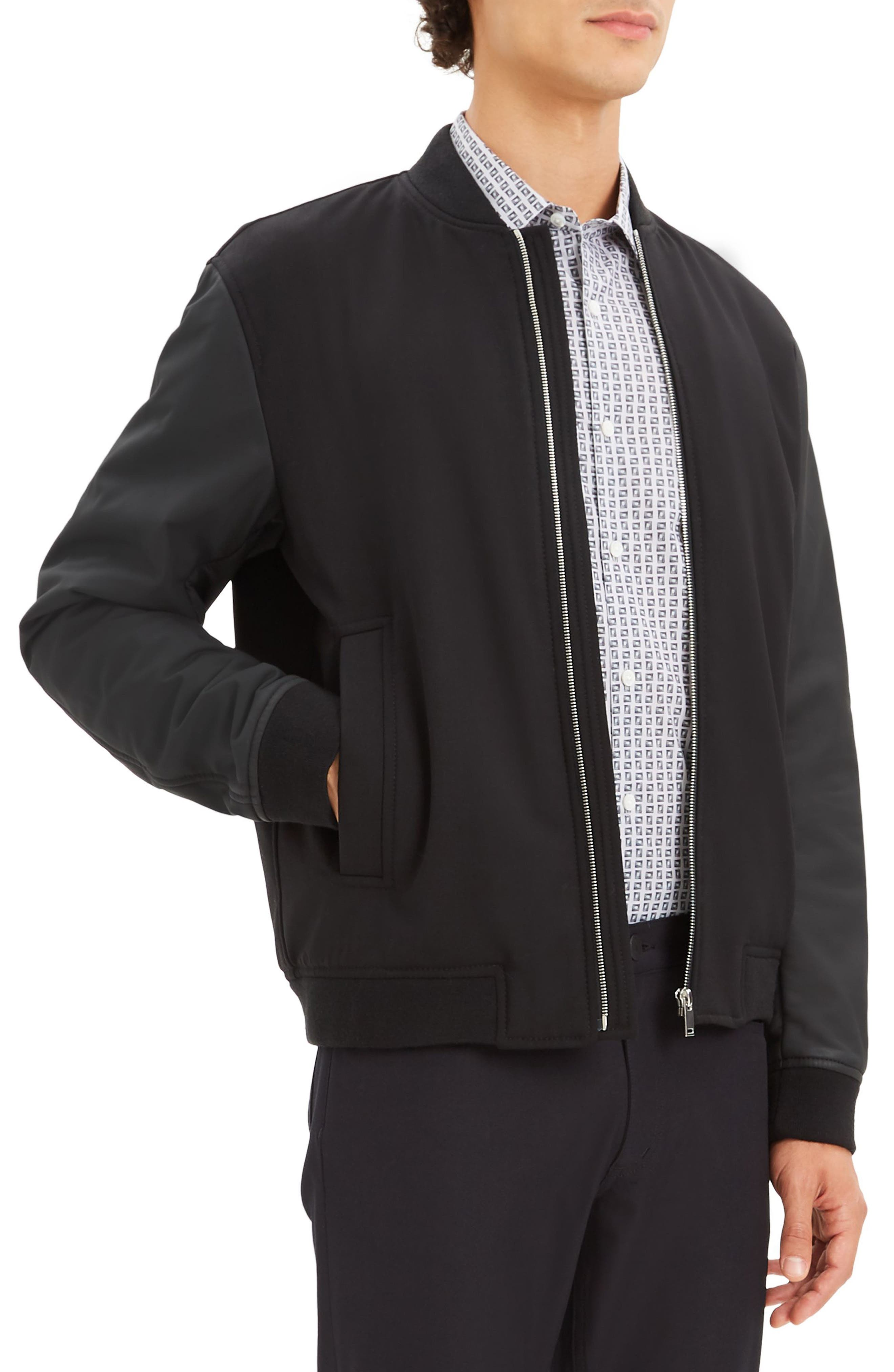 Stretch Wool Bomber Jacket,                             Alternate thumbnail 3, color,                             BLACK