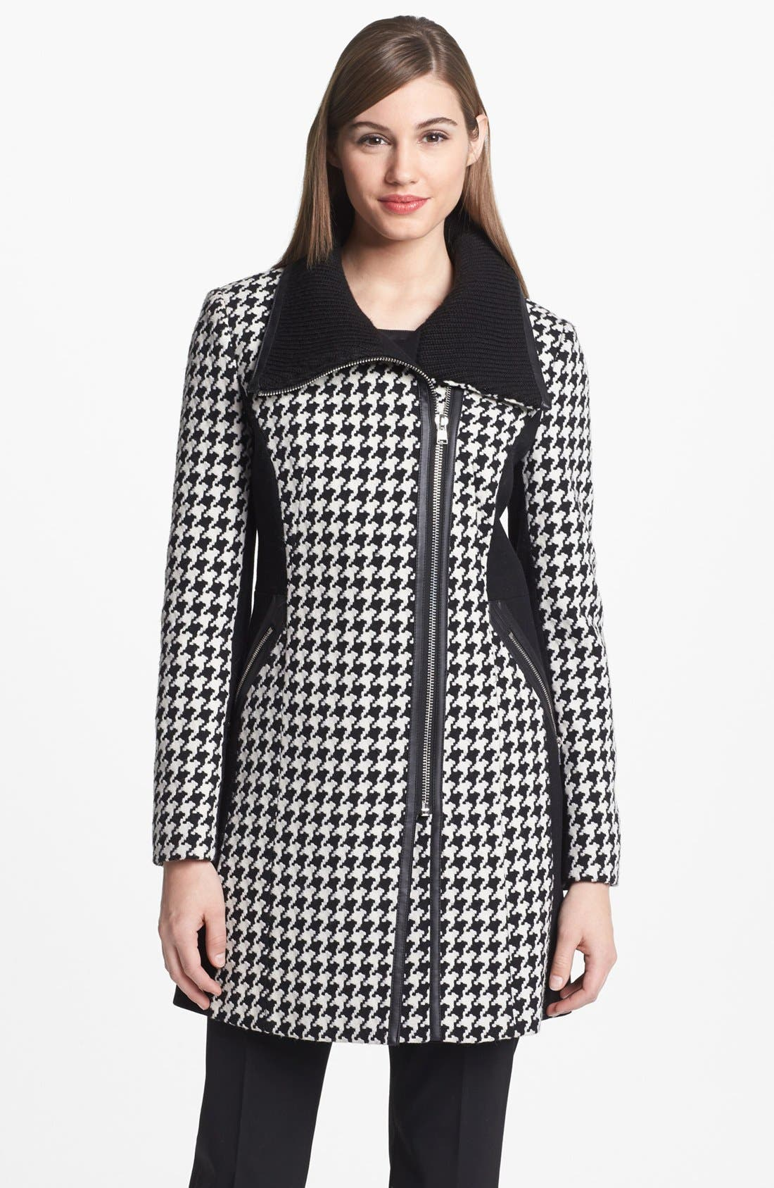 Colorblock Houndstooth Coat,                             Alternate thumbnail 6, color,                             001