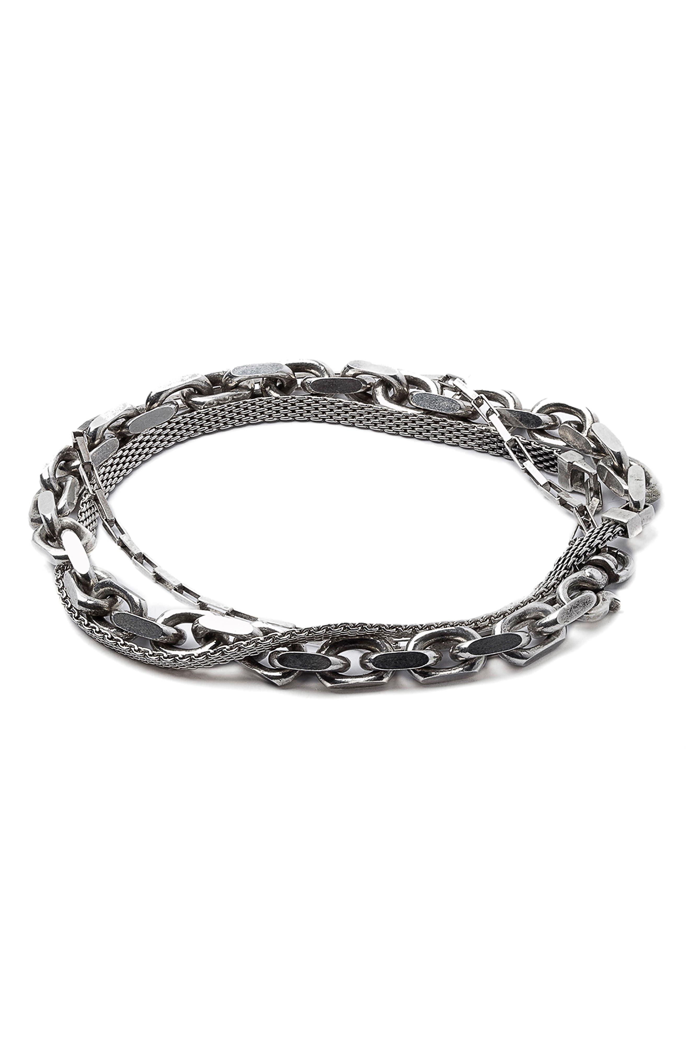Triple Wrap Bracelet,                         Main,                         color, SILVER
