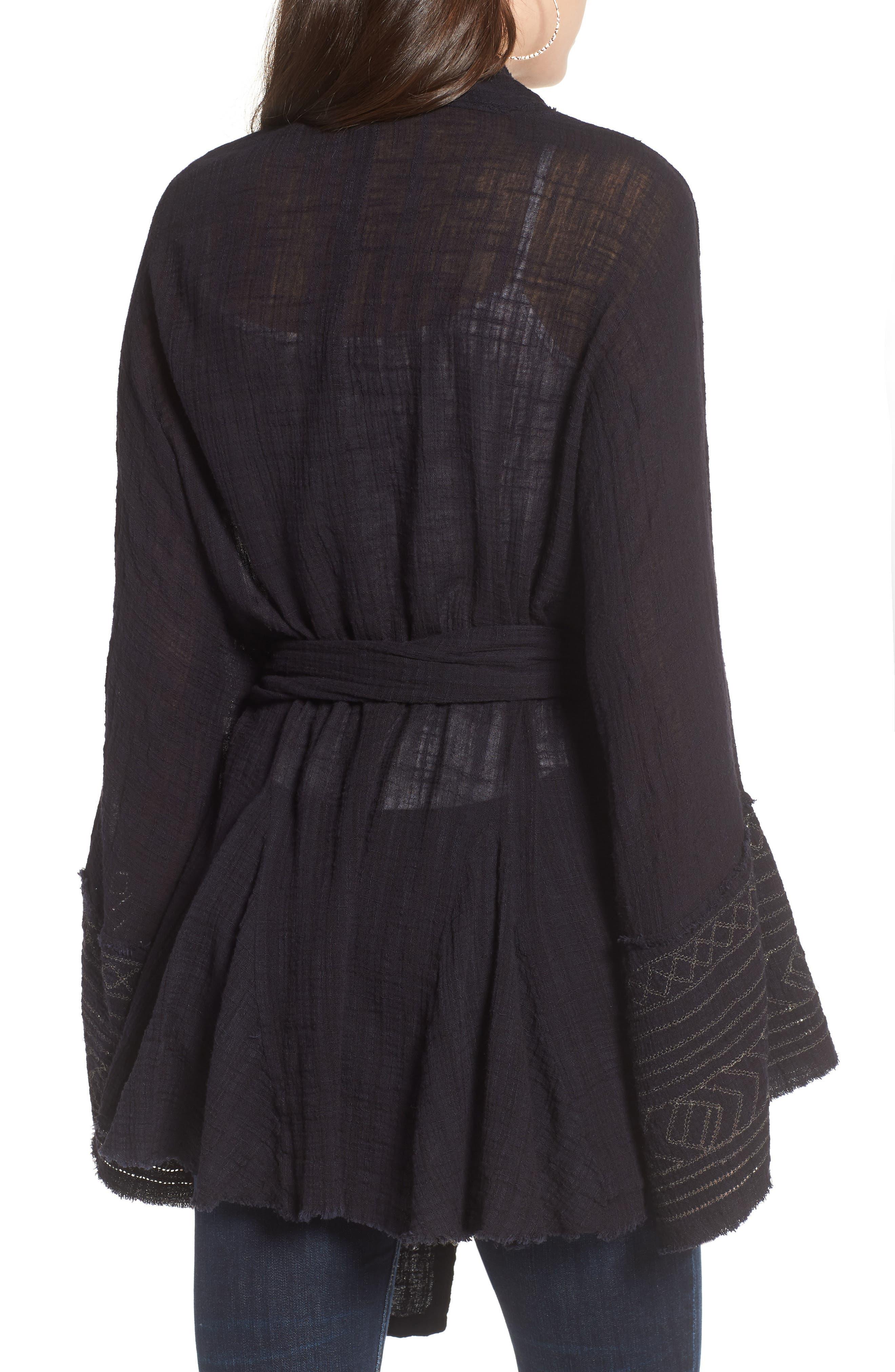 Tie Wrap Kimono,                             Alternate thumbnail 2, color,                             BLACK