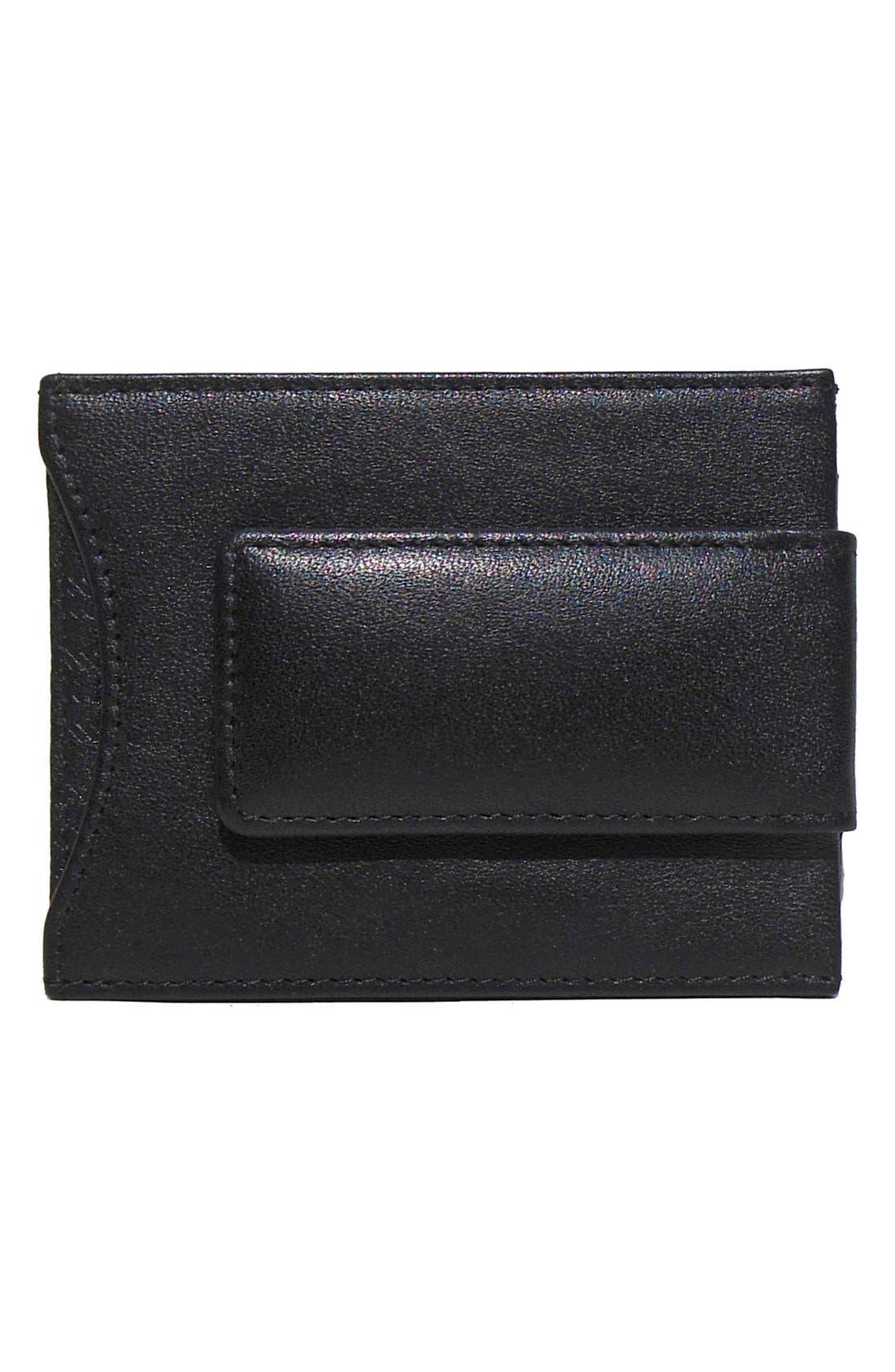 'Grant' Money Clip Card Case,                             Alternate thumbnail 2, color,                             BLACK/ GREY