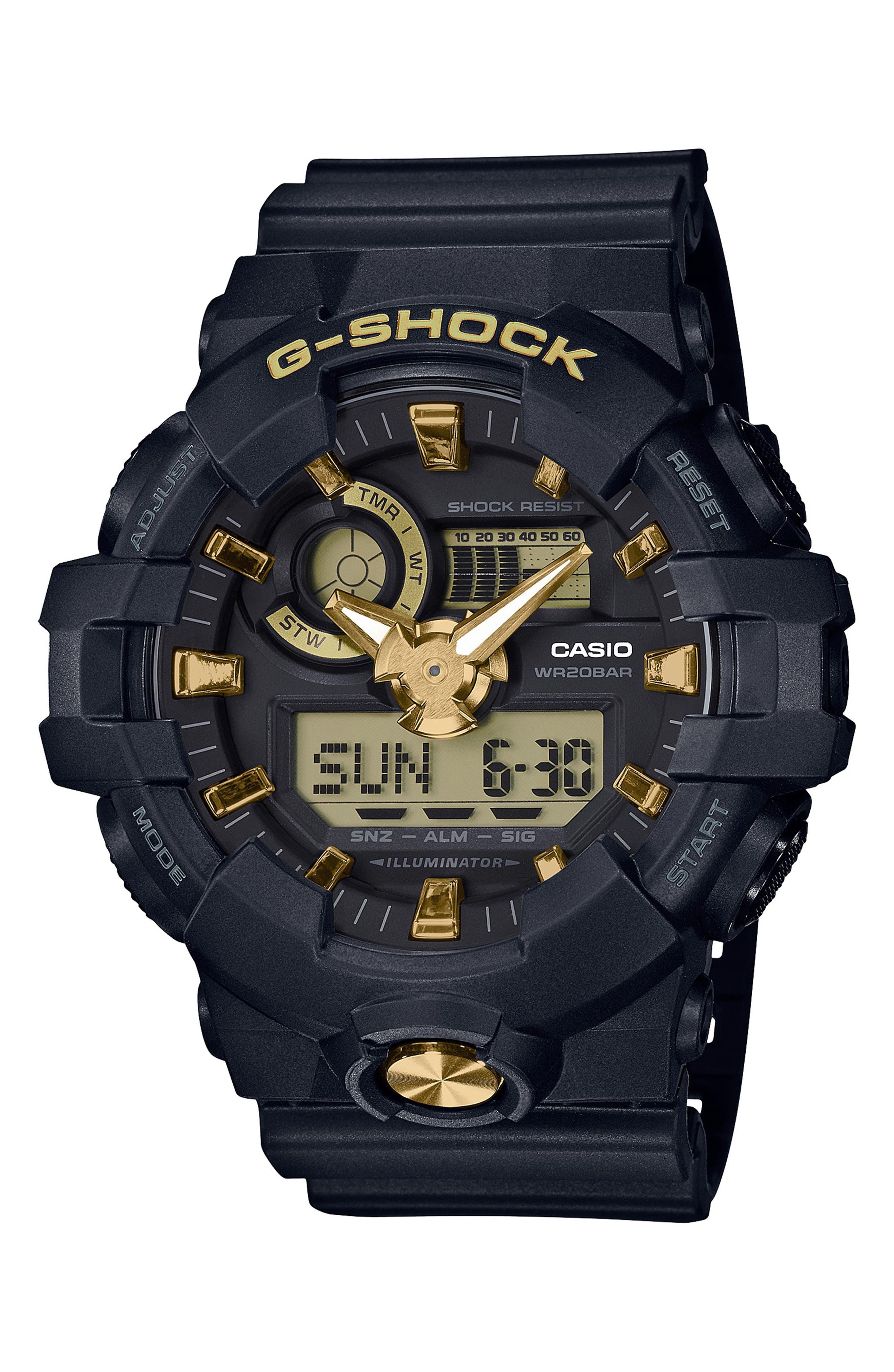 Ana-Digi Resin Watch, 53mm, Main, color, BLACK/ GOLD