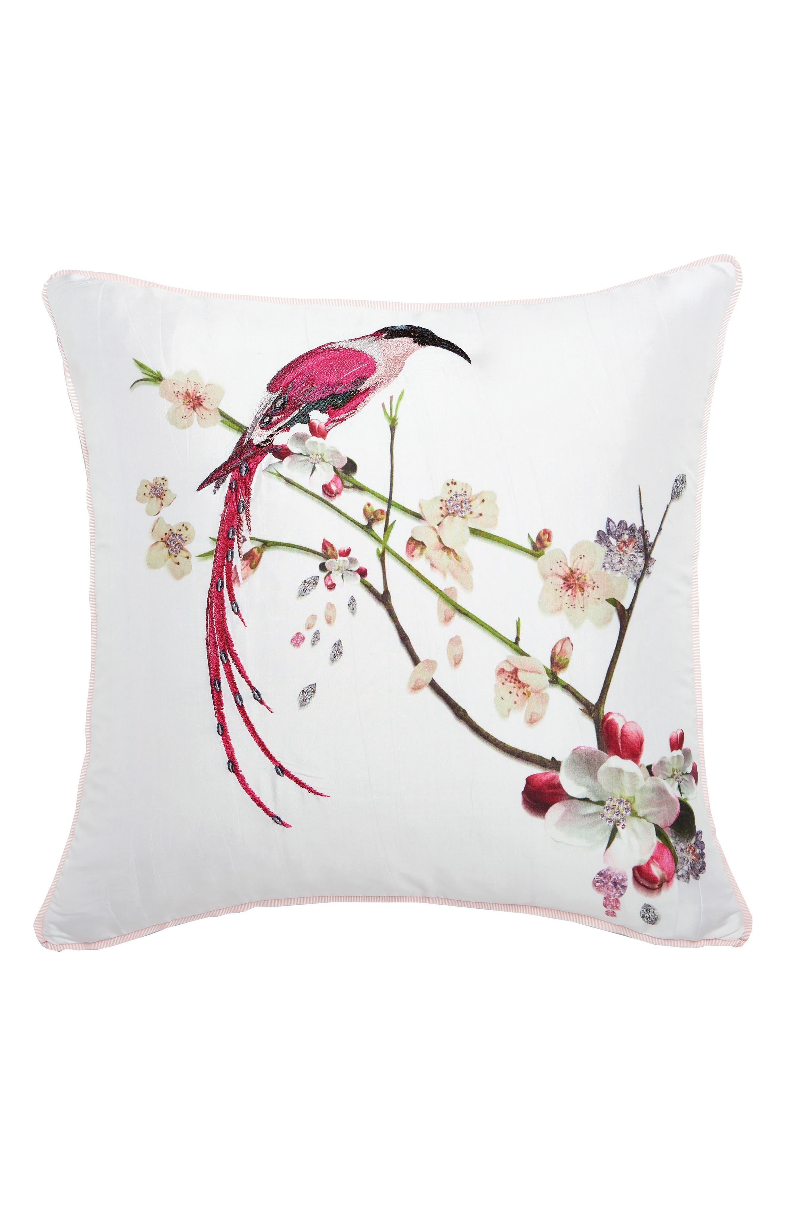 Bird Print Pillow,                             Main thumbnail 1, color,                             WHITE/ MULTI