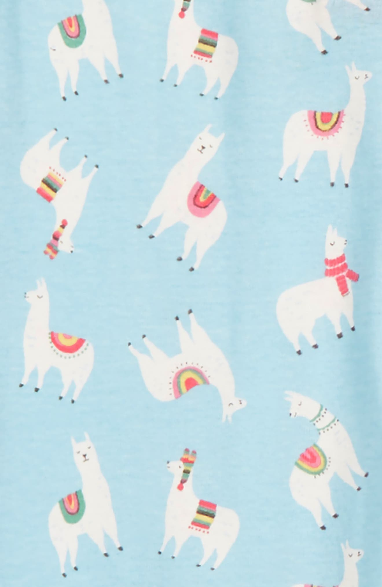 Fitted Cosy All in One Pajamas,                             Alternate thumbnail 2, color,                             BLU ICE BLUE LLAMAS