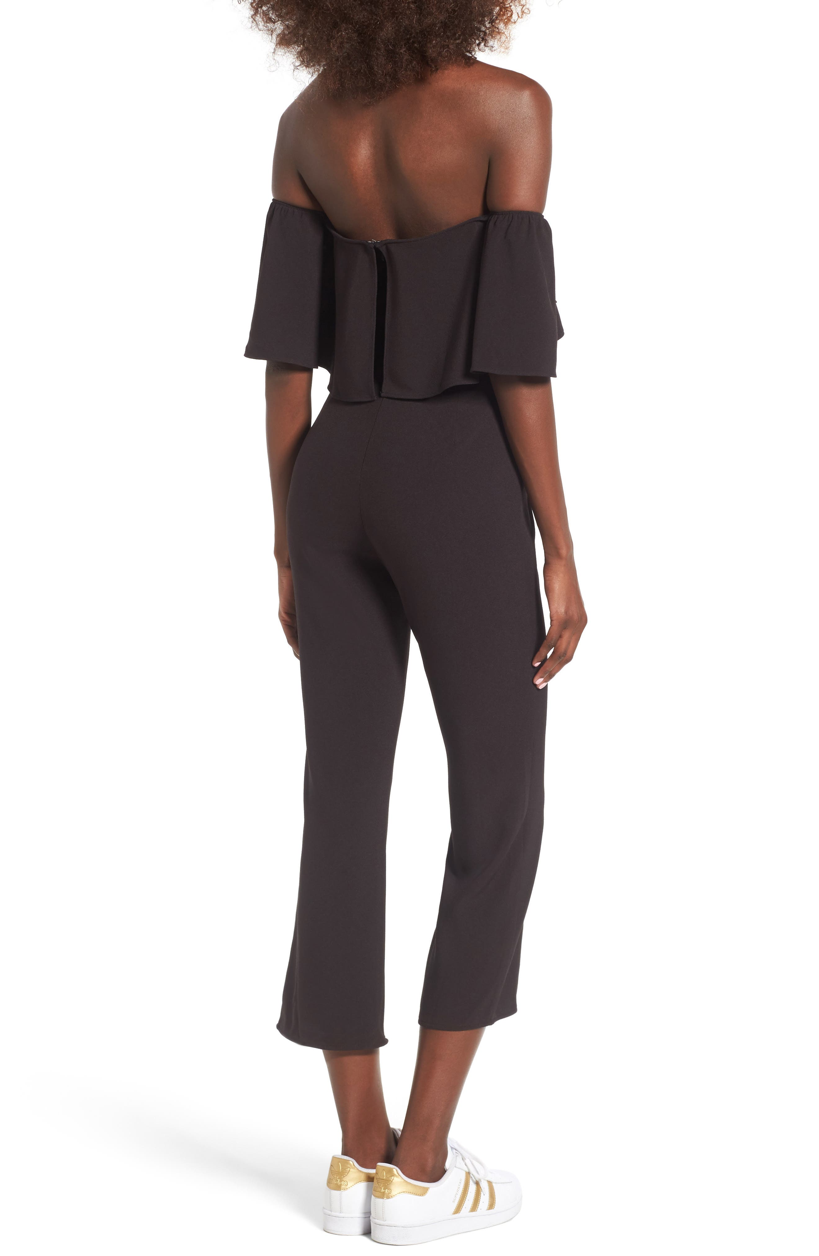 Strapless Off the Shoulder Jumpsuit,                             Alternate thumbnail 2, color,                             001