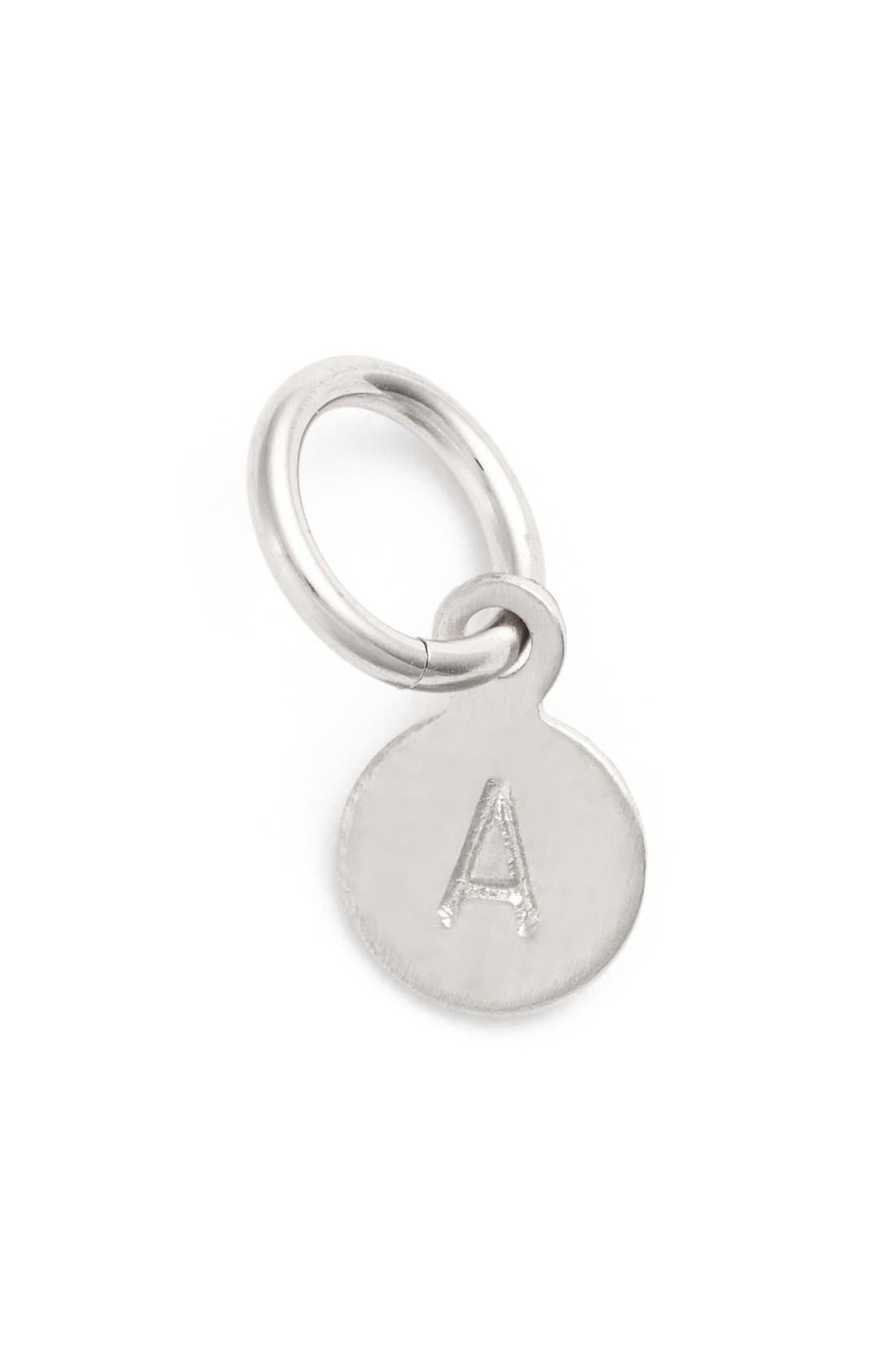 Tiny Initial Sterling Silver Coin Charm,                         Main,                         color, 040