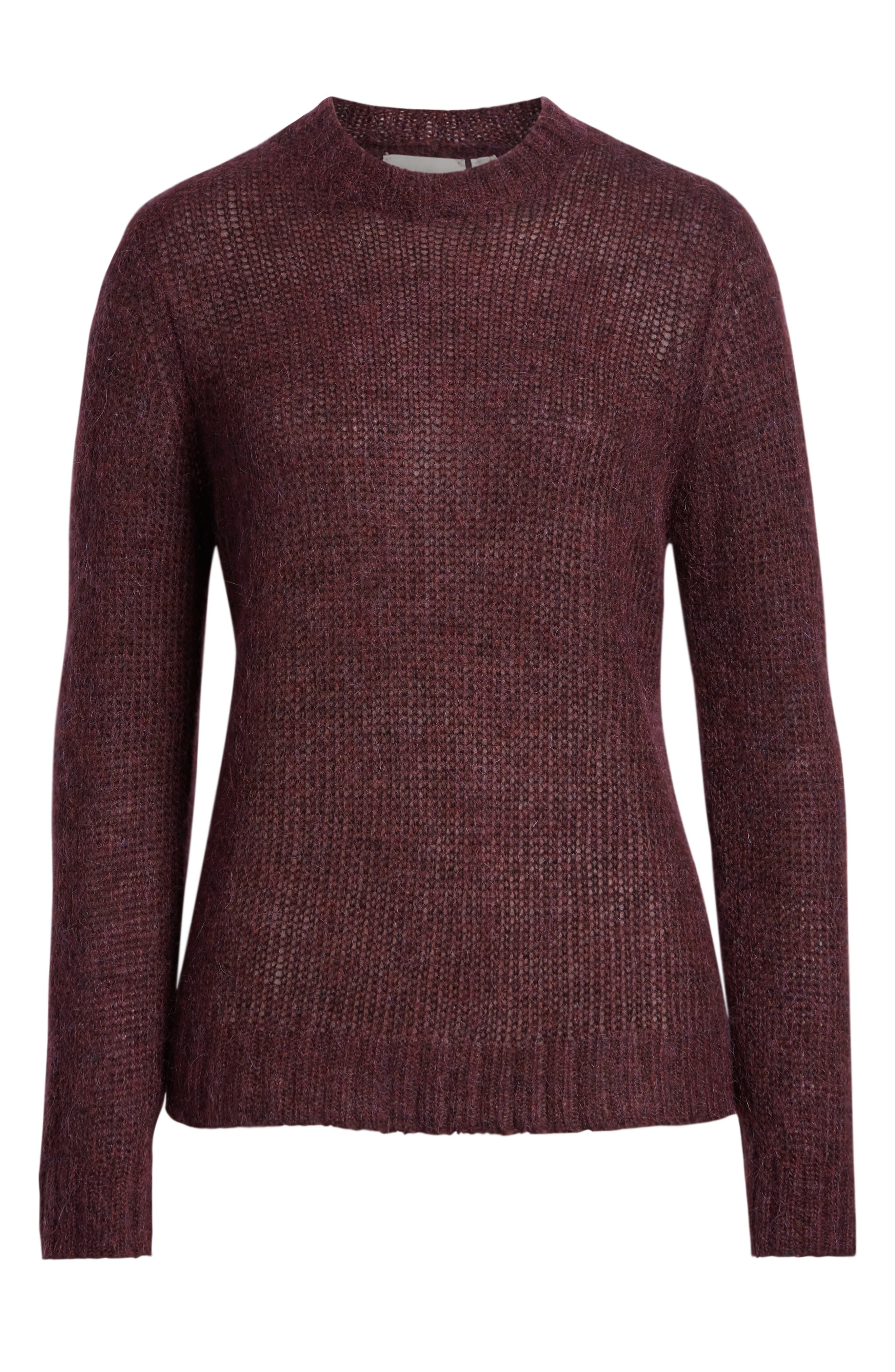 Ansley Crewneck Sweater,                             Alternate thumbnail 6, color,                             RICH CARMINE