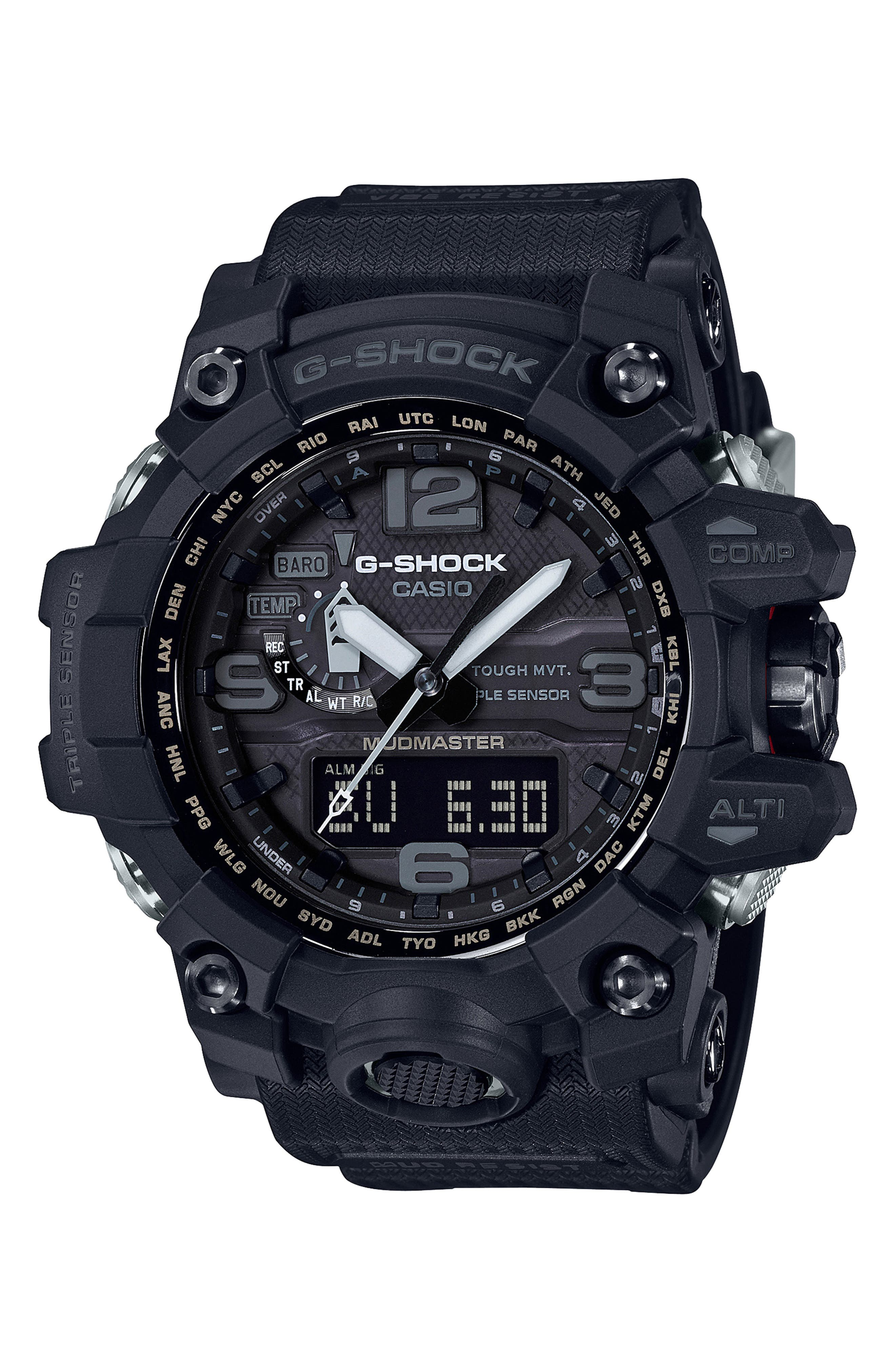 G-Shock Mudmaster Resin Casio Ana-Digi Watch, 56mm,                             Main thumbnail 1, color,                             BLACK
