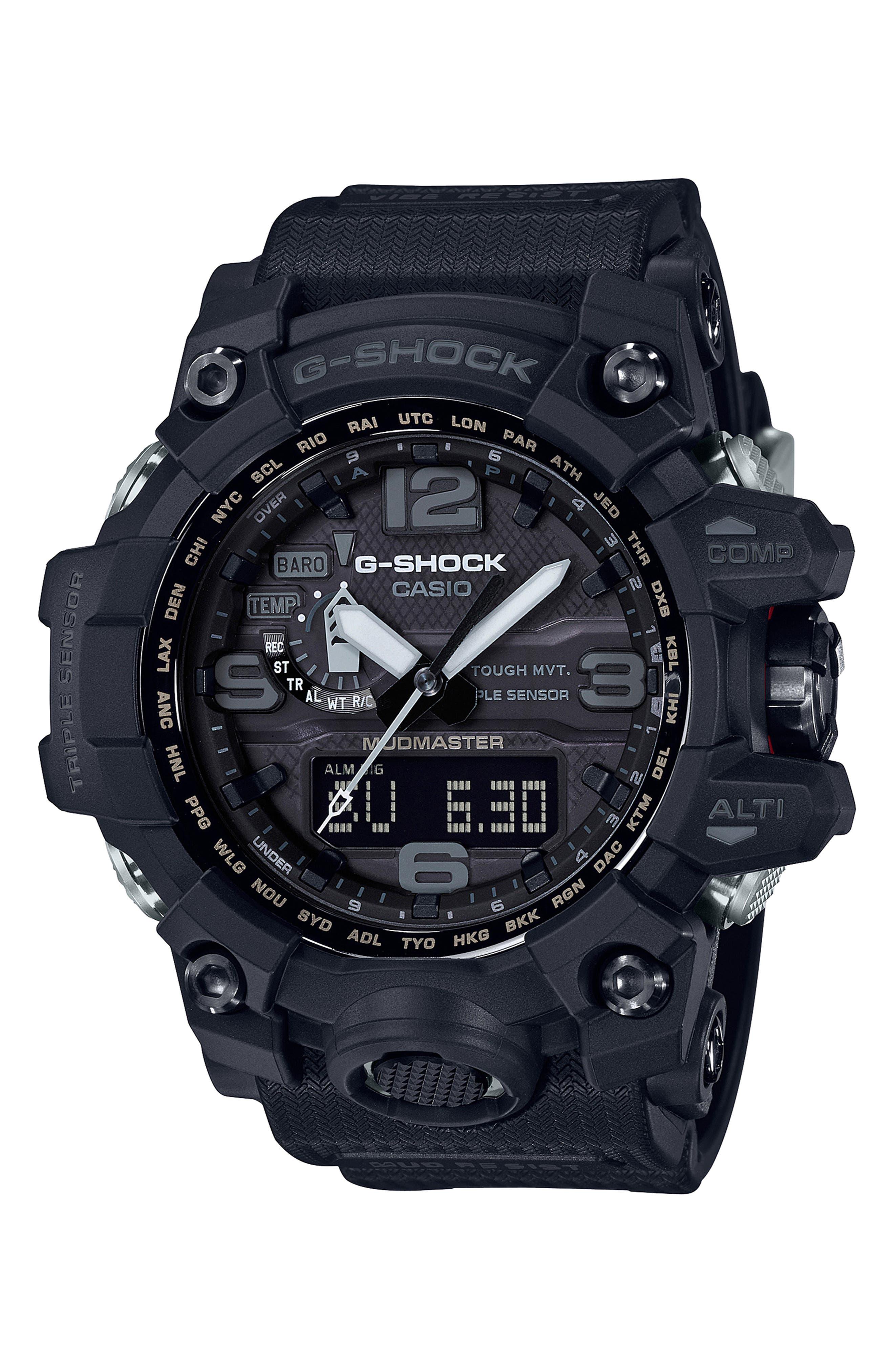 G-Shock Mudmaster Resin Casio Ana-Digi Watch, 56mm,                         Main,                         color, BLACK