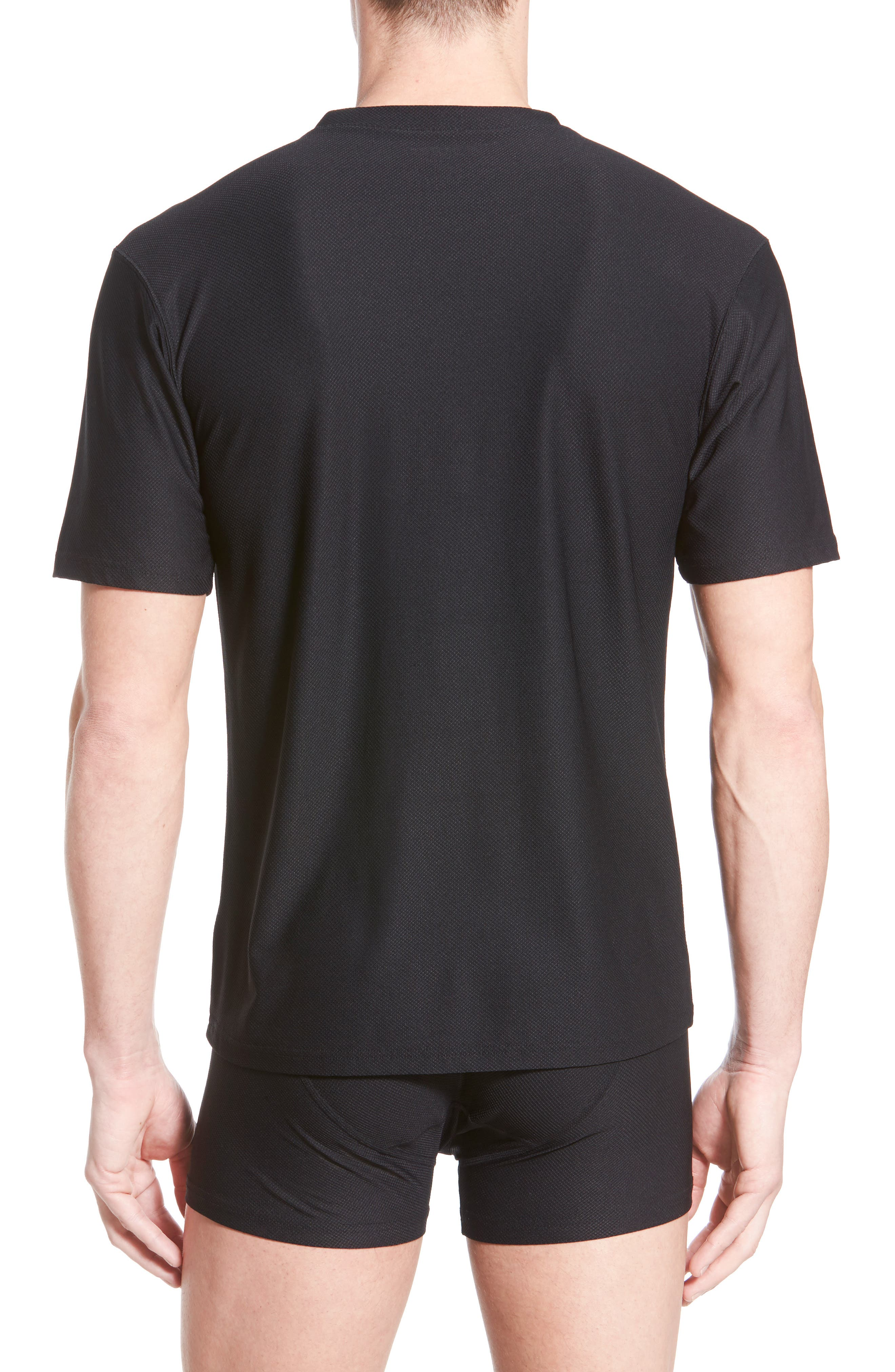 'Give-N-Go' Mesh V-Neck T-Shirt,                             Alternate thumbnail 5, color,                             BLACK