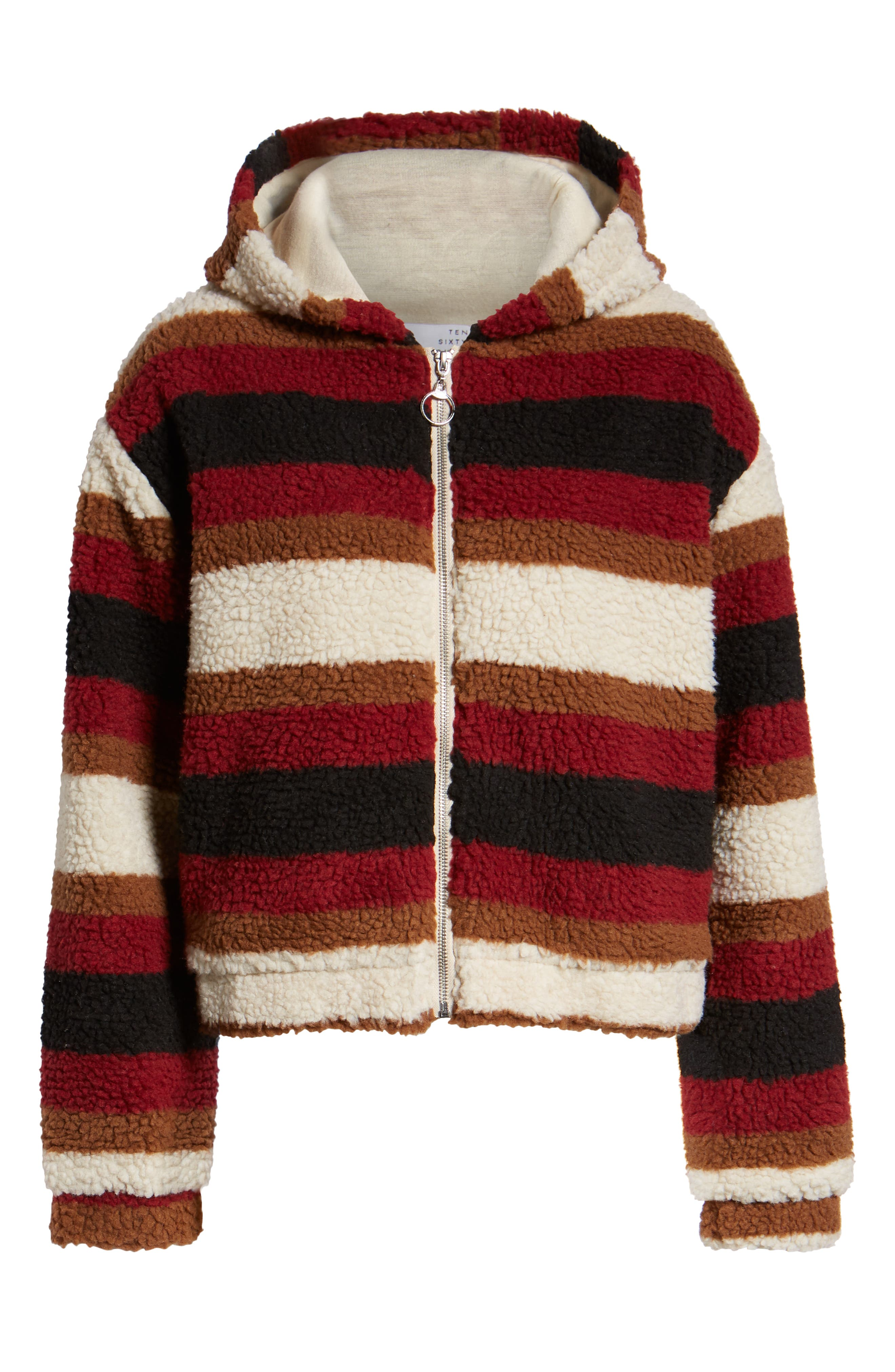 Stripe Fleece Hooded Jacket,                             Alternate thumbnail 6, color,                             NATURAL STRIPE