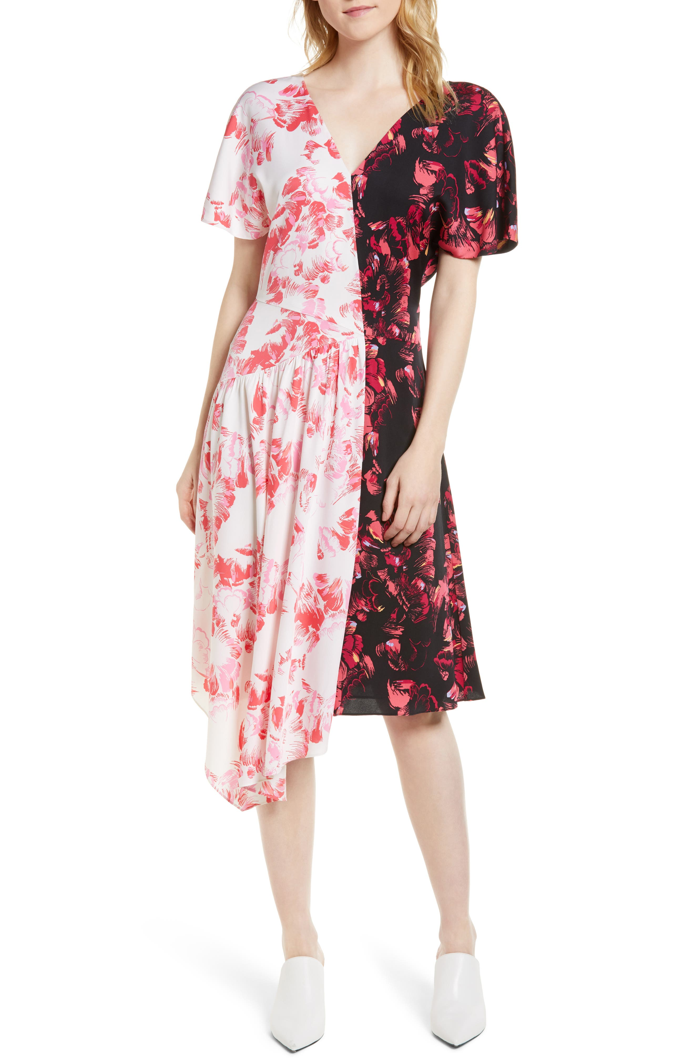 Double Print Floral Stretch Silk Dress,                             Main thumbnail 1, color,