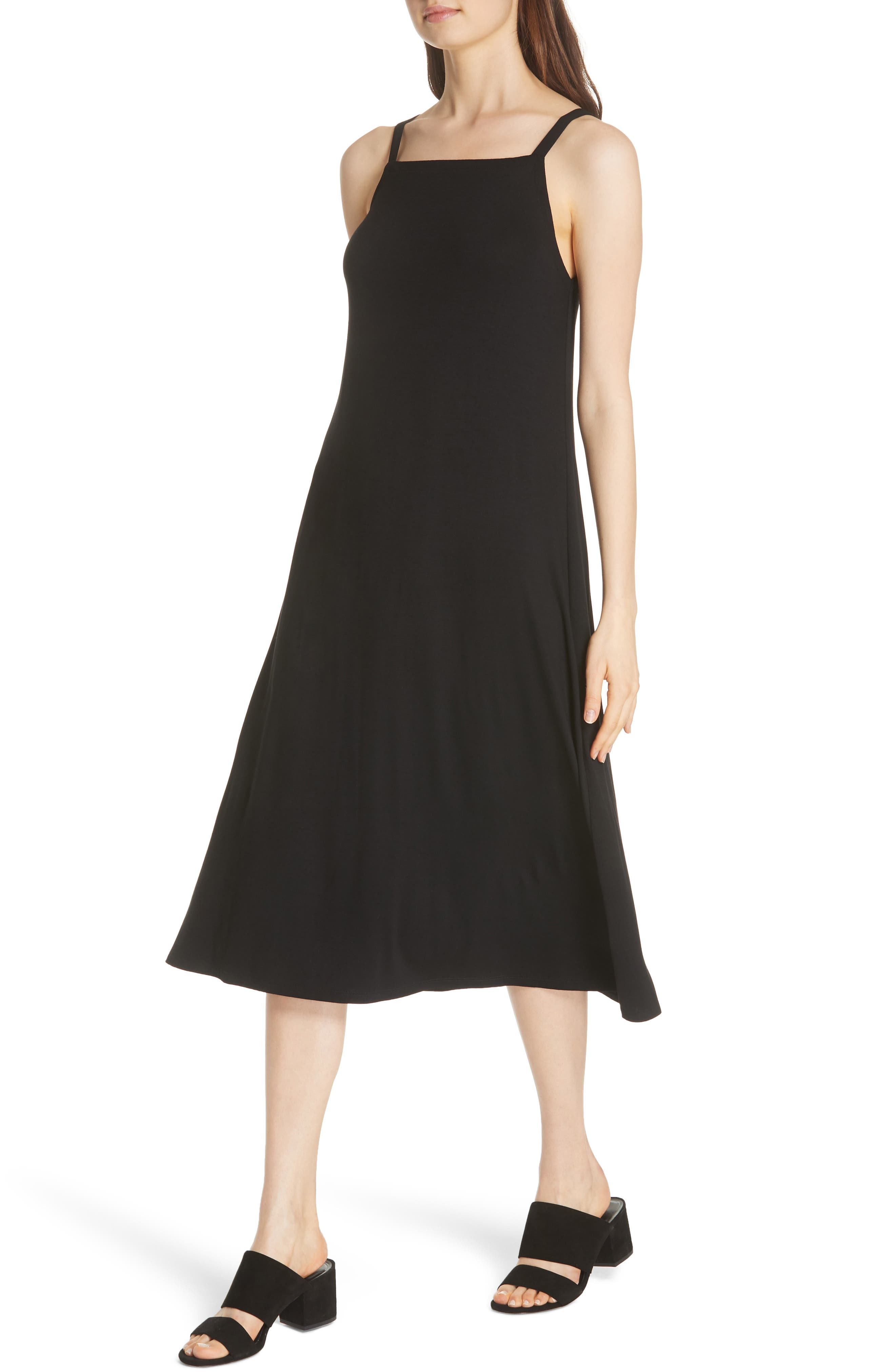 Cami Dress,                             Alternate thumbnail 4, color,                             BLACK