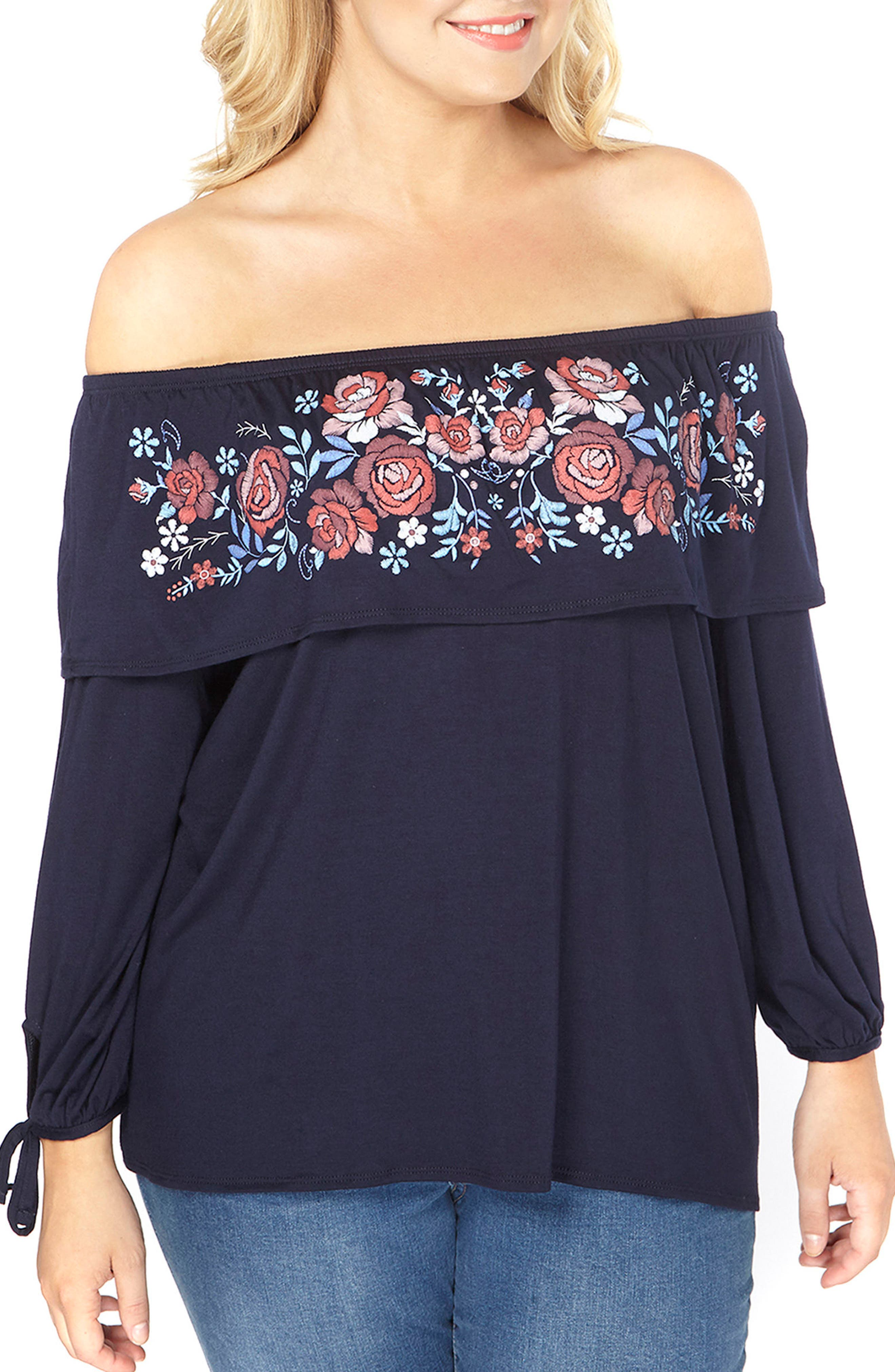 Off the Shoulder Puff Print Top,                             Main thumbnail 1, color,                             415