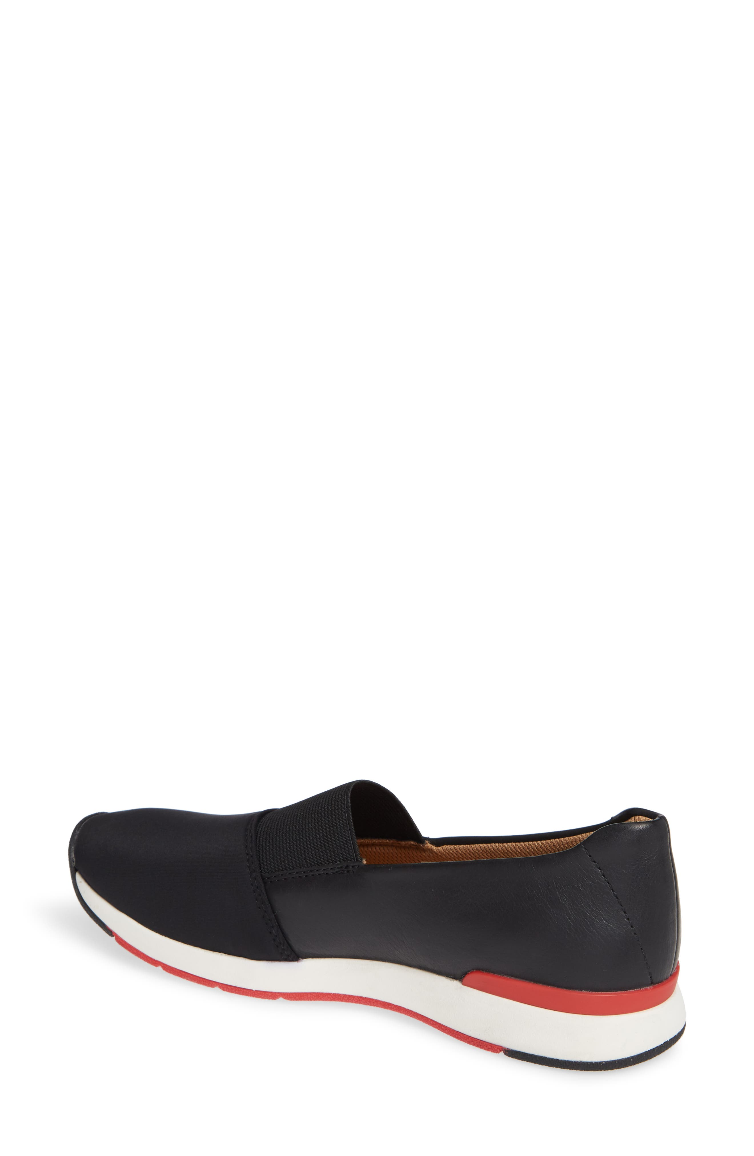 Cameo Slip-On Shoe,                             Alternate thumbnail 2, color,                             BLACK LEATHER NEOPRENE
