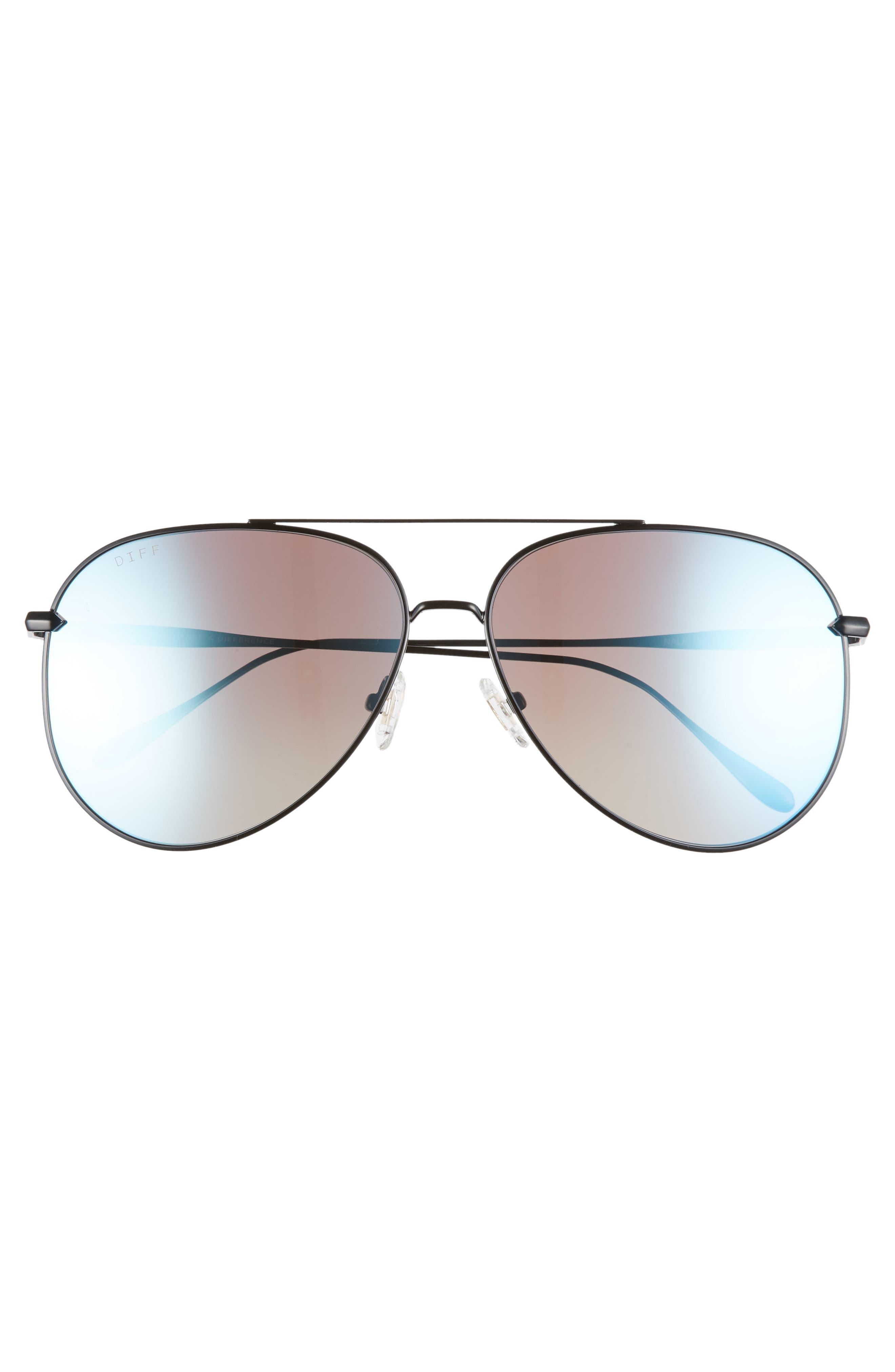 Nala 60mm Polarized Aviator Sunglasses,                             Alternate thumbnail 3, color,                             BLACK/ SMOKE