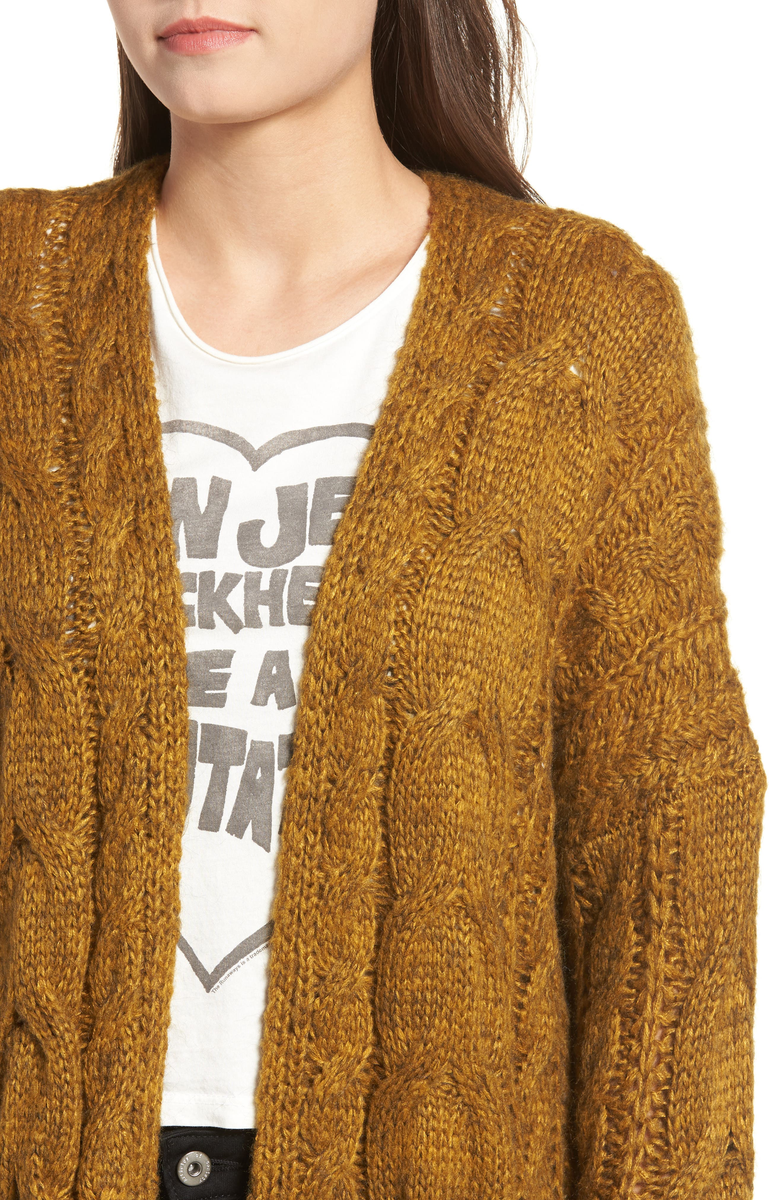 Chunky Cable Knit Cardigan,                             Alternate thumbnail 4, color,                             MUSTARD