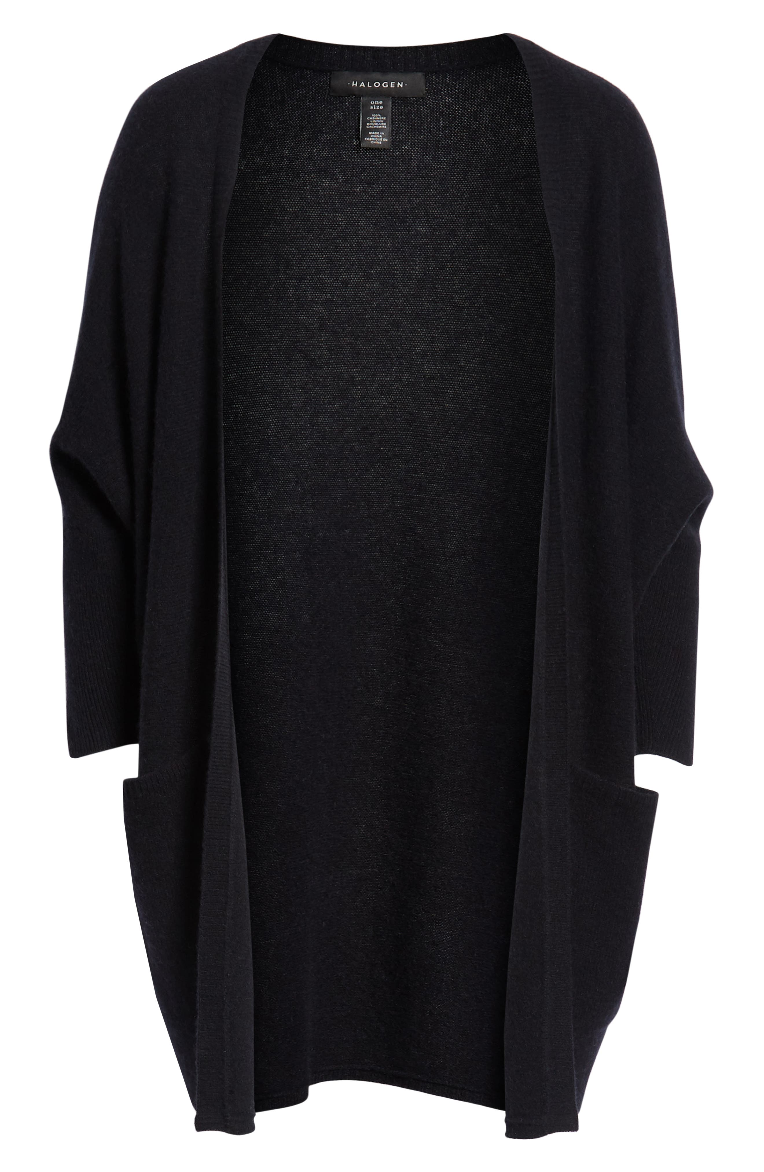 Cashmere Cardigan,                             Alternate thumbnail 6, color,                             BLACK