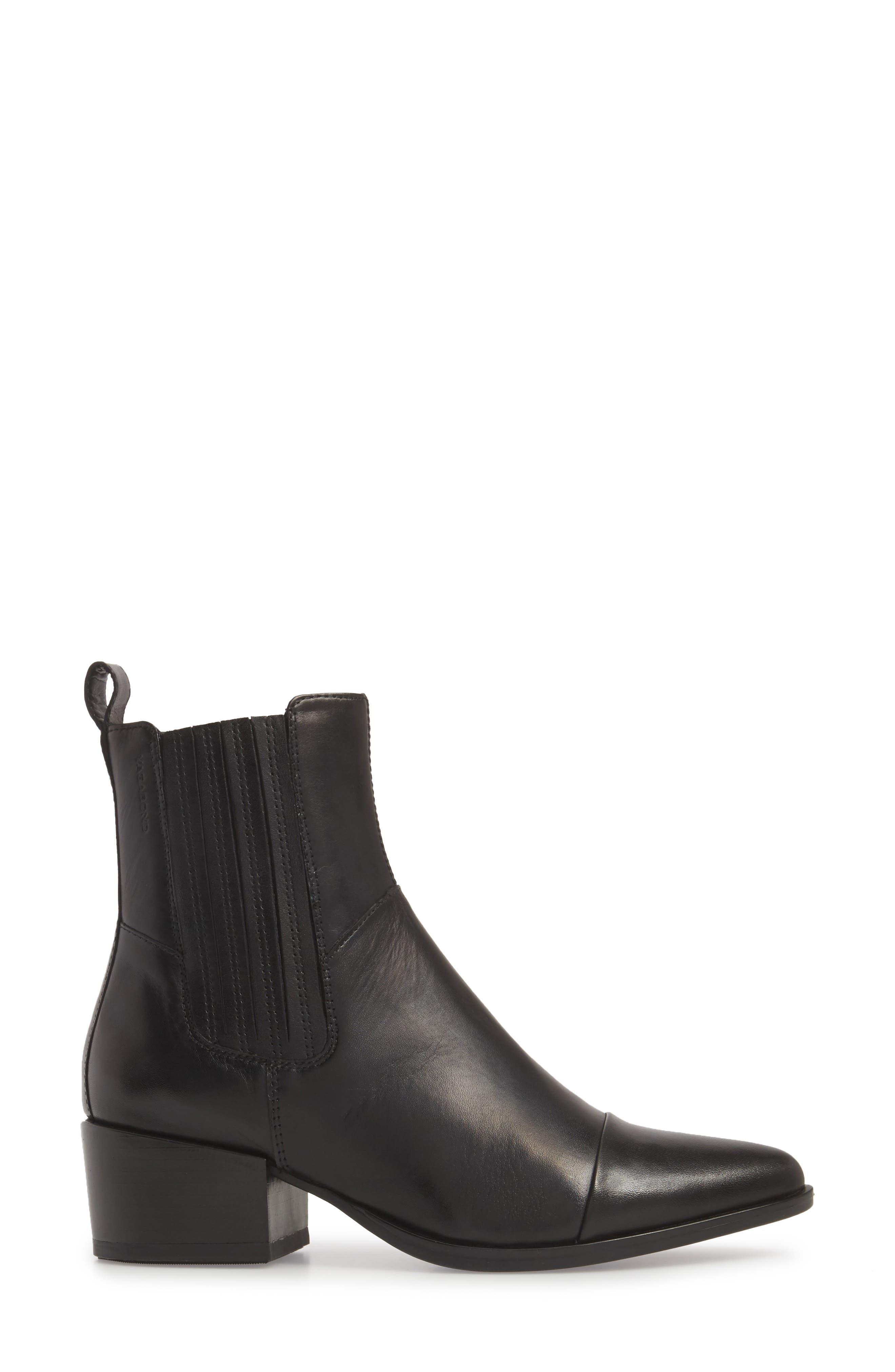 VAGABOND,                             Shoemakers Marja Cap Toe Bootie,                             Alternate thumbnail 3, color,                             BLACK LEATHER