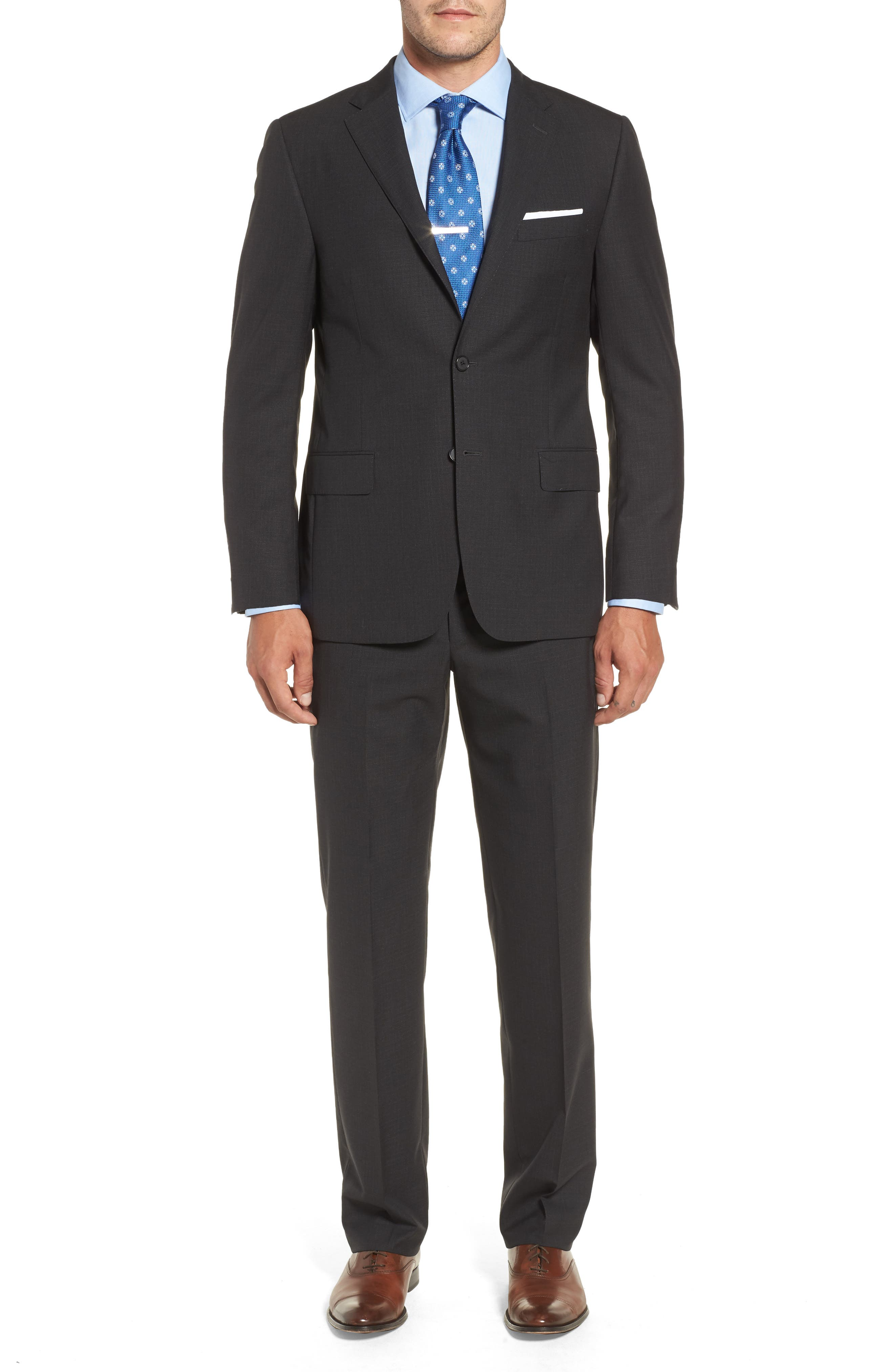 Classic B Fit Check Wool Suit,                         Main,                         color, 020