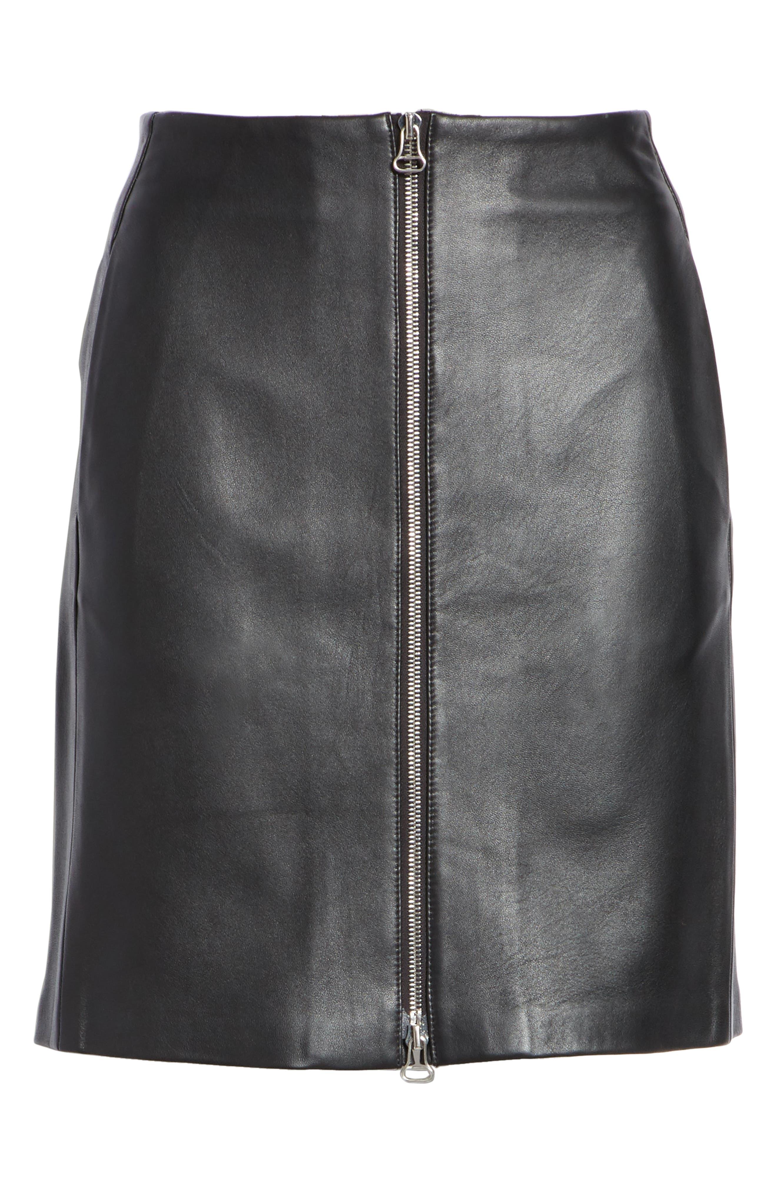Heidi Leather Skirt,                             Alternate thumbnail 6, color,                             BLACK