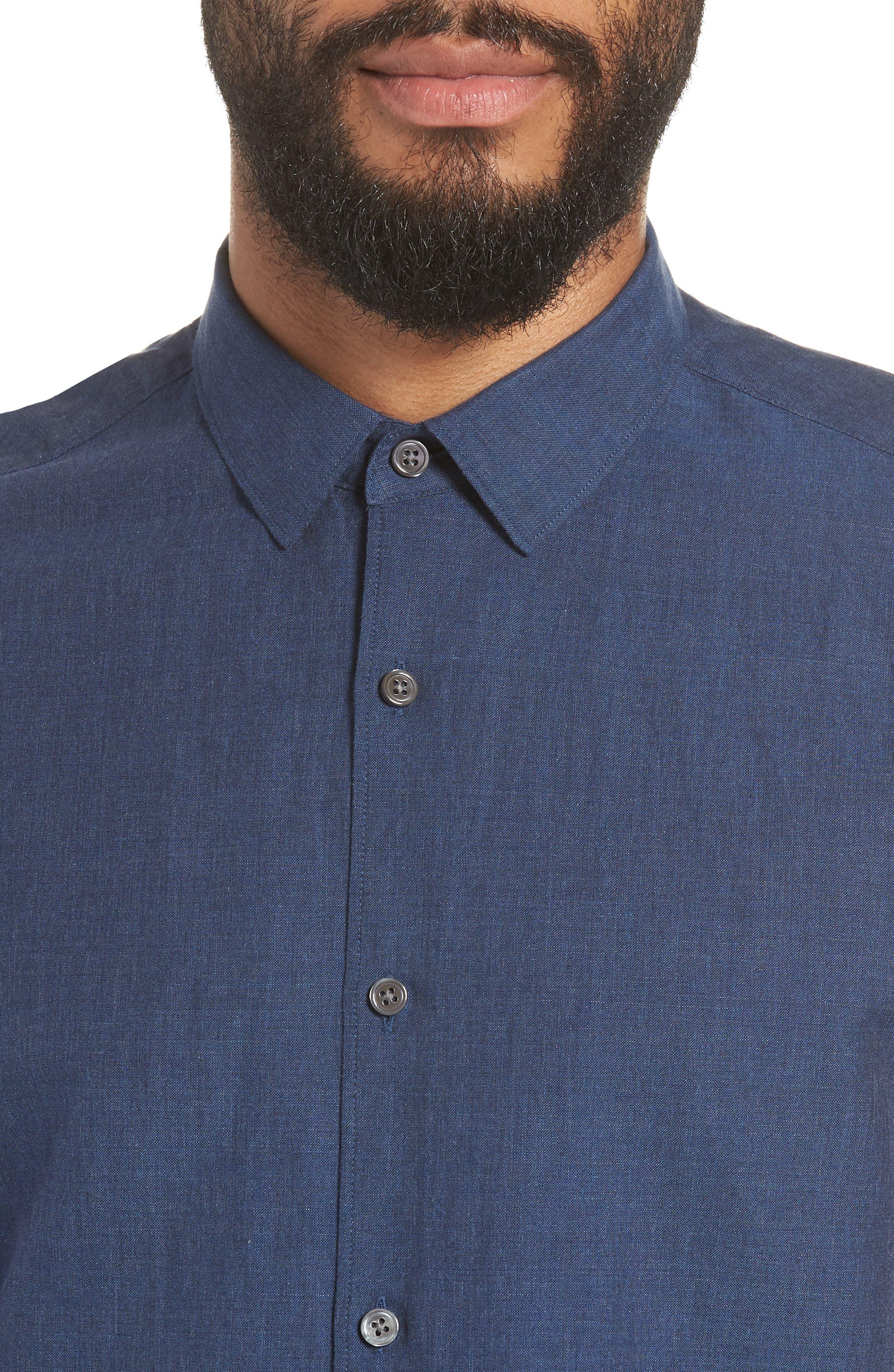 Murrary Indy Regular Fit Solid Cotton & Linen Sport Shirt,                             Alternate thumbnail 2, color,                             FINCH