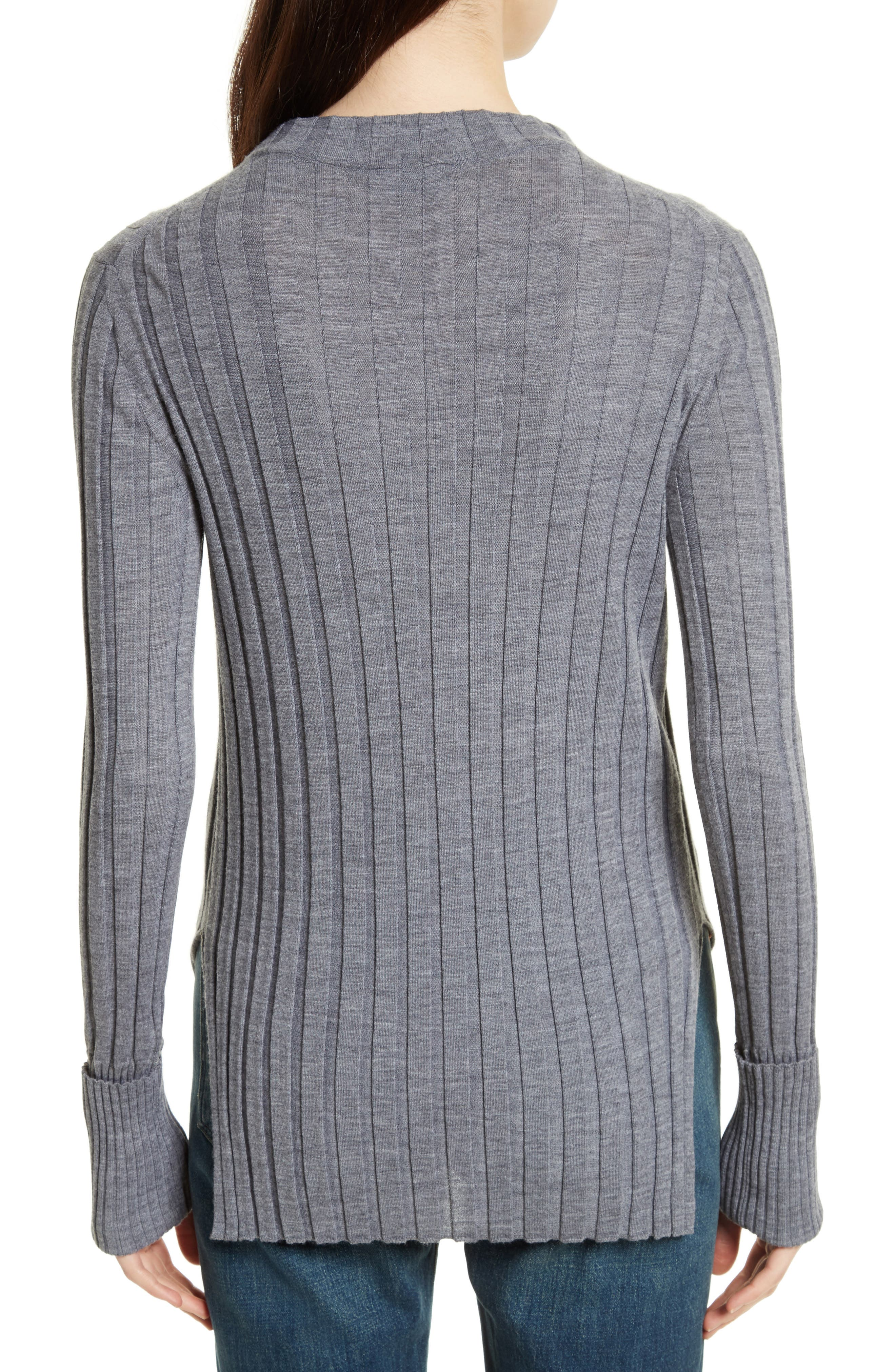 Wide Ribbed Mock Neck Wool Sweater,                             Alternate thumbnail 7, color,