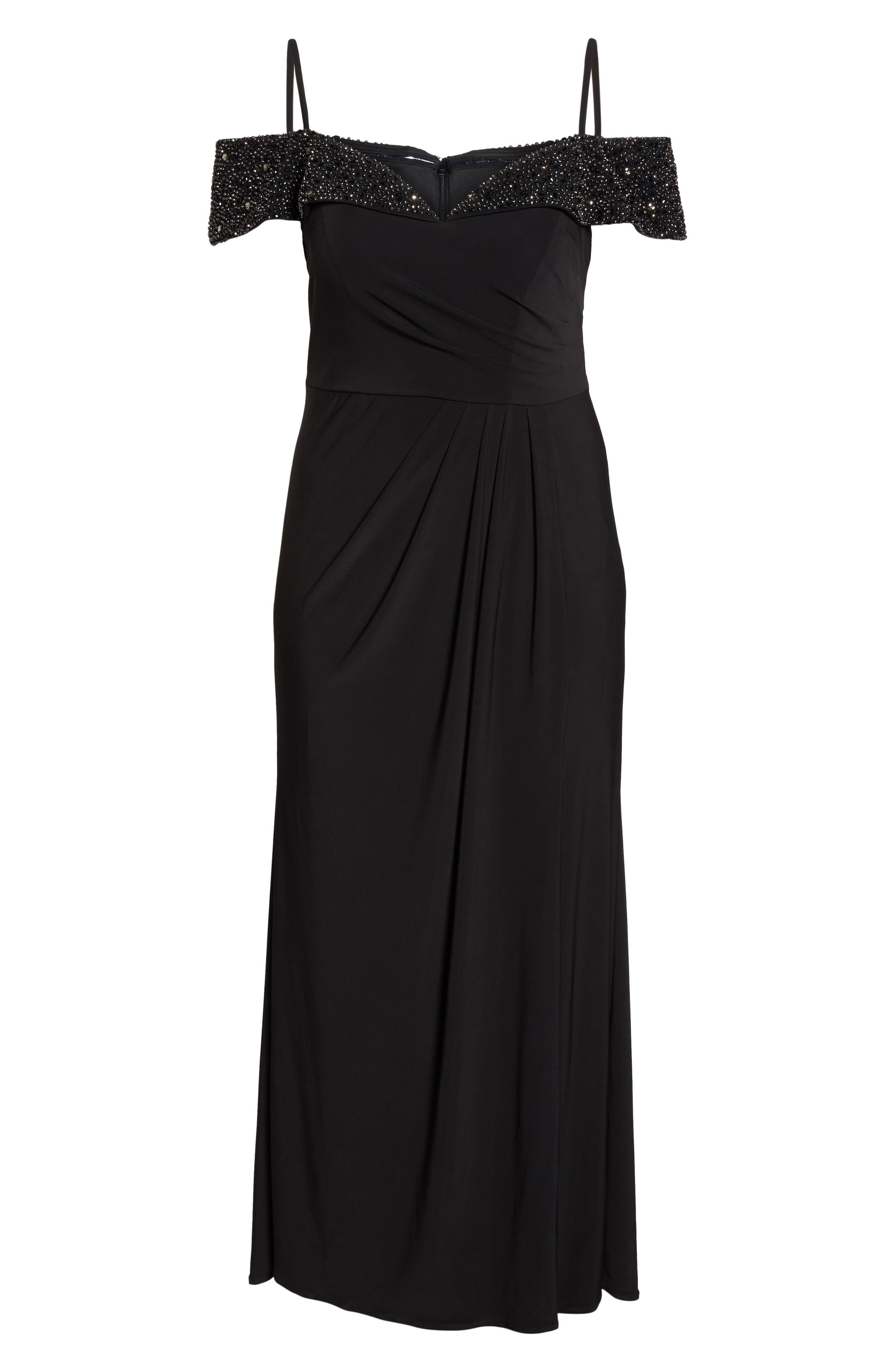 Embellished Cold Shoulder Gown,                             Alternate thumbnail 6, color,                             001