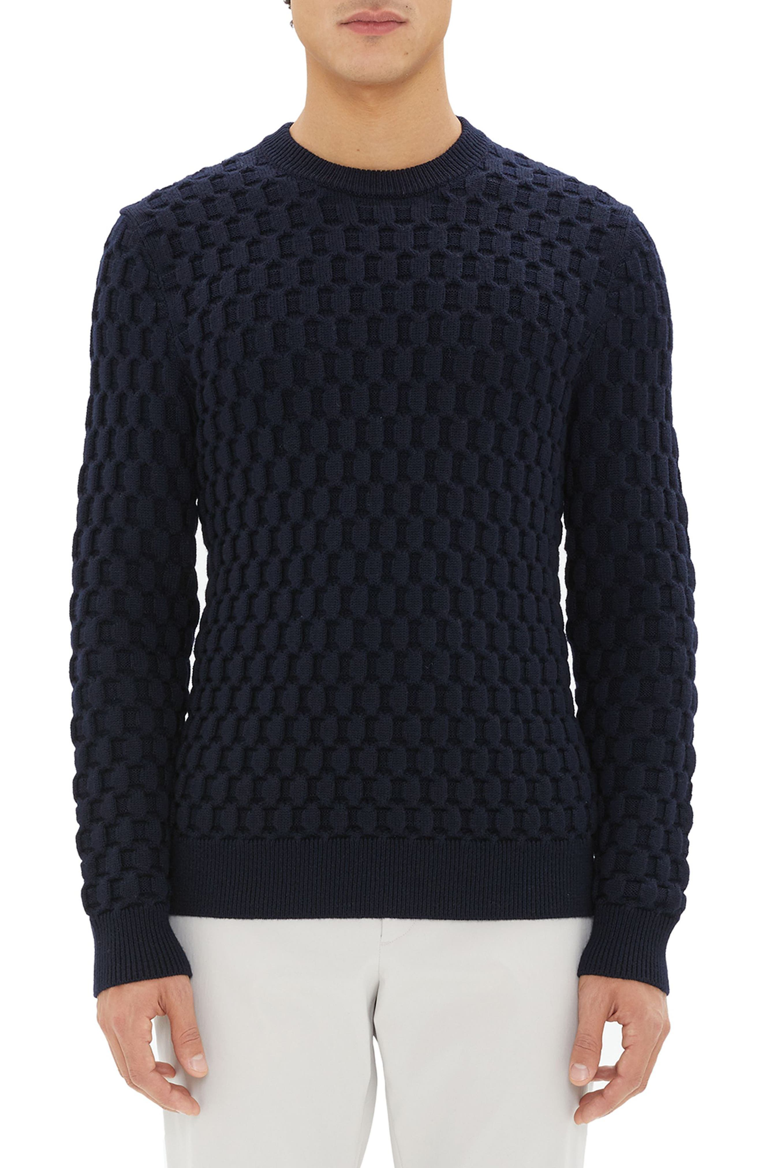 Marcos Honeycomb Merino Wool Sweater,                         Main,                         color, ECLIPSE