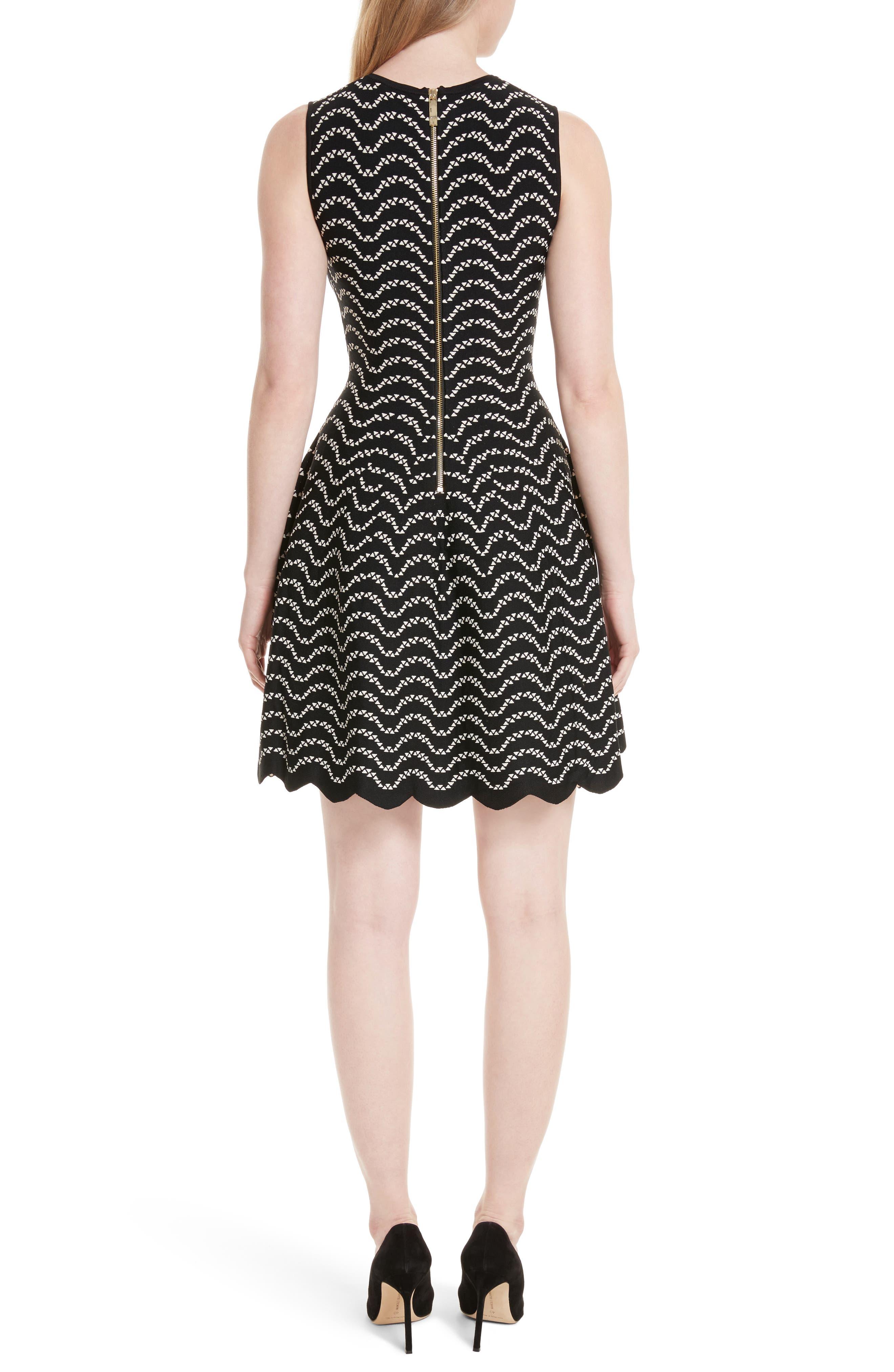 Bryena Jacquard Fit & Flare Dress,                             Alternate thumbnail 2, color,                             001