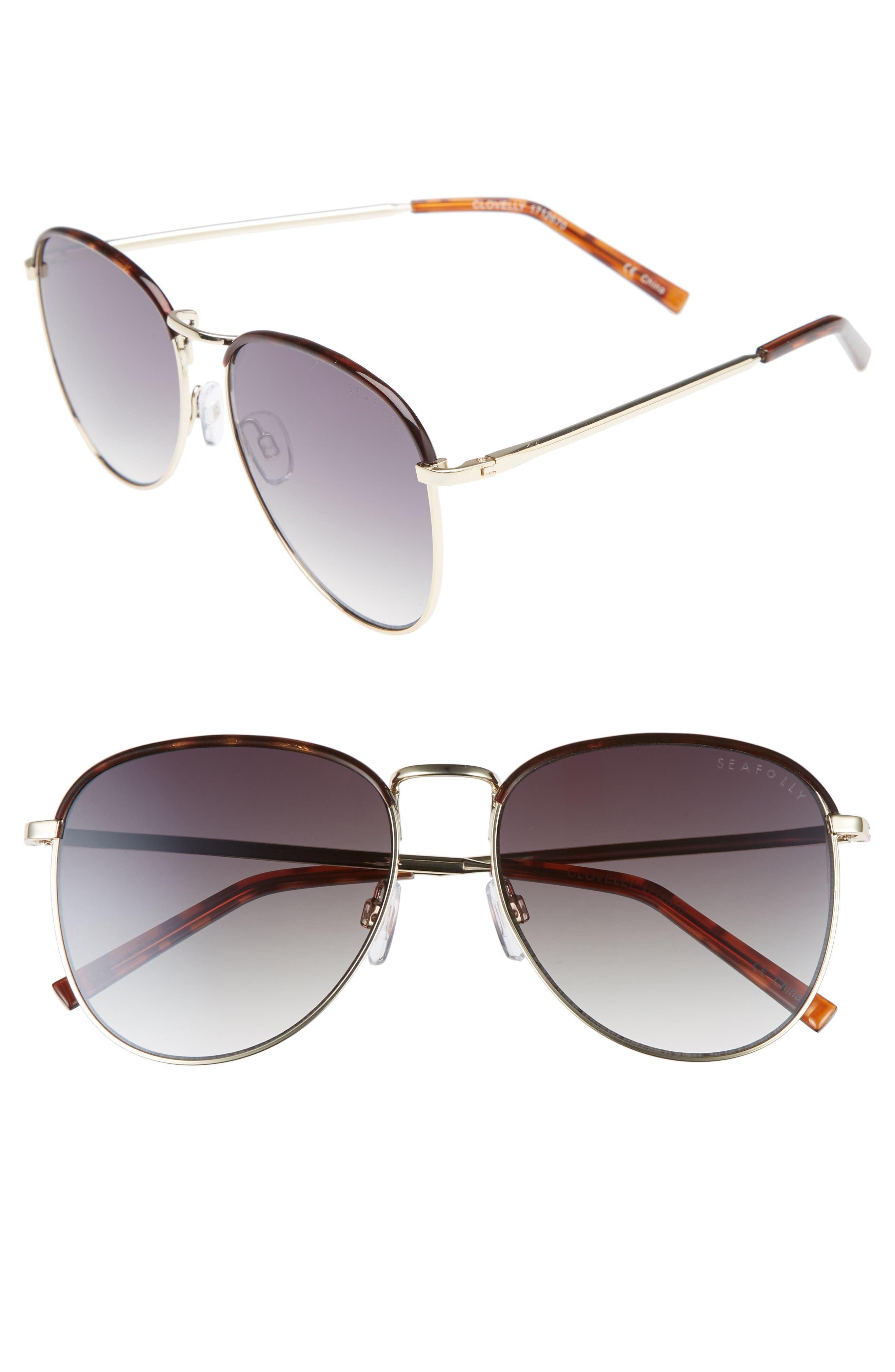 Clovelly 56mm Metal Sunglasses,                         Main,                         color, DARK TORT