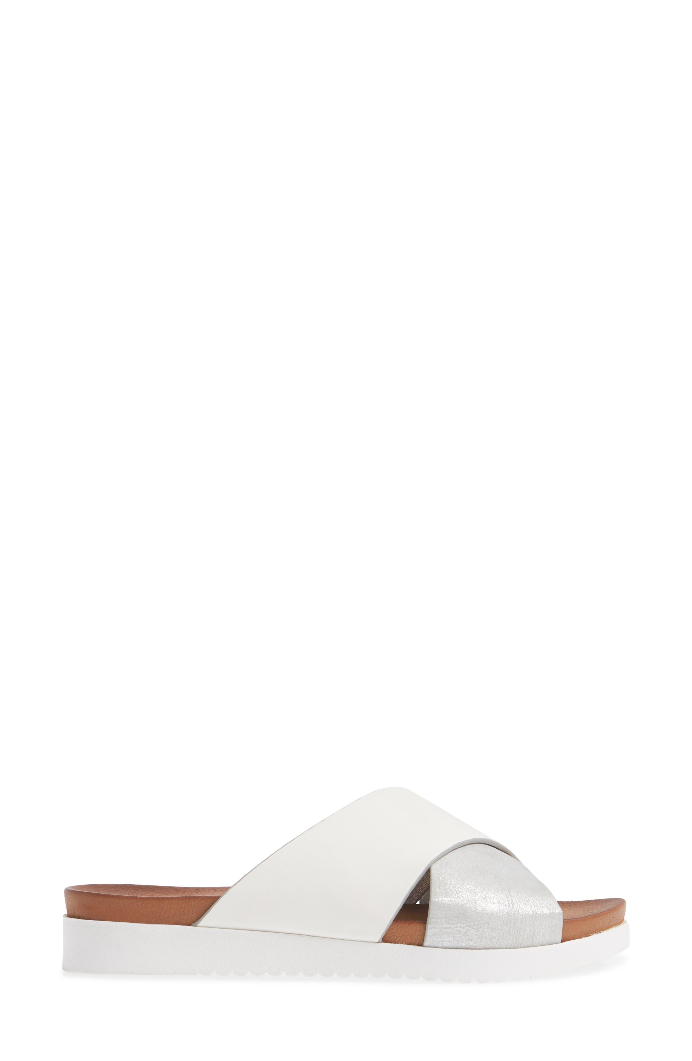 Rwon Slide Sandal,                             Alternate thumbnail 3, color,                             WHITE/ SILVER LEATHER
