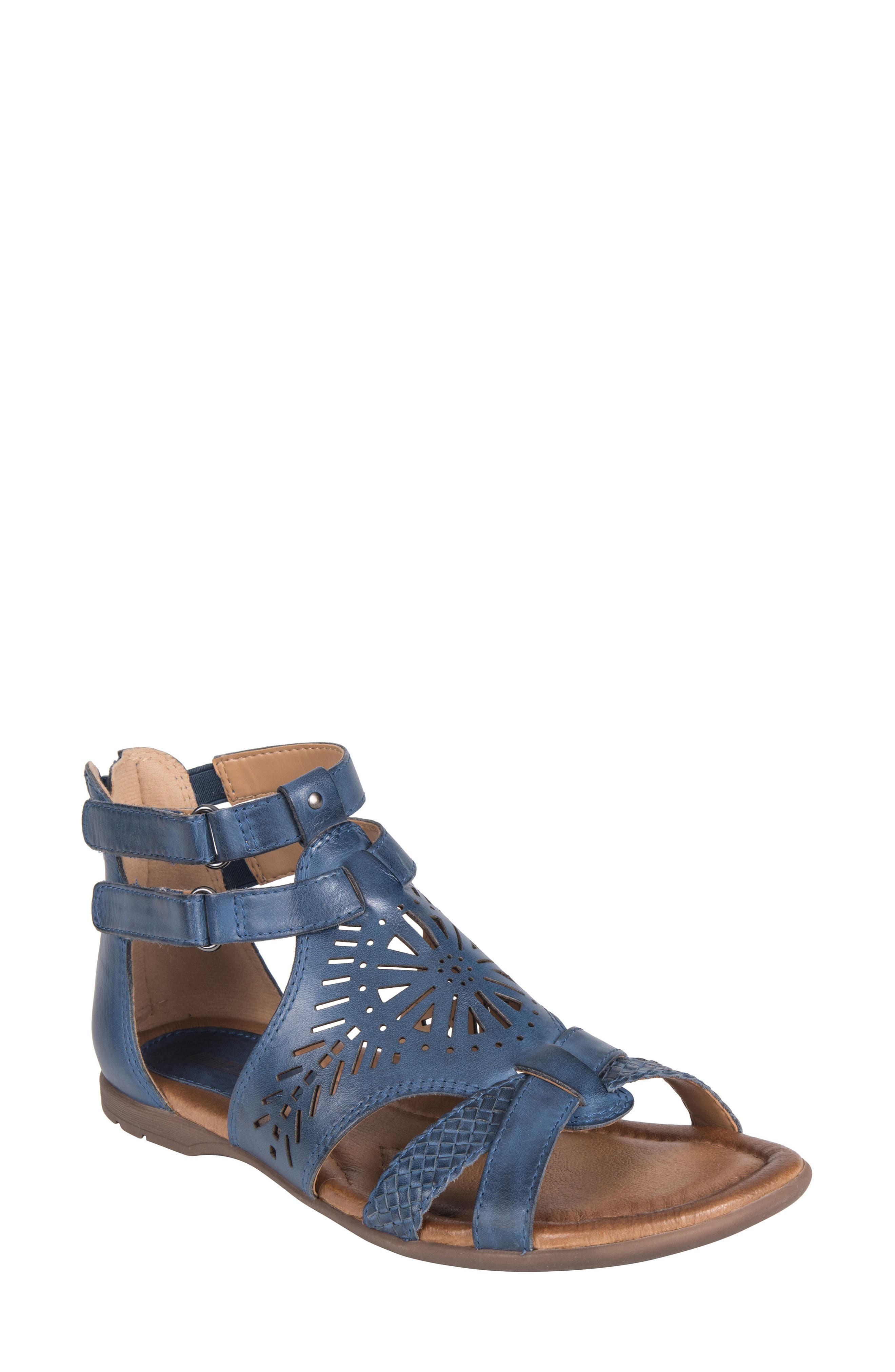 Breaker Sandal,                             Main thumbnail 1, color,                             SAPPHIRE BLUE LEATHER