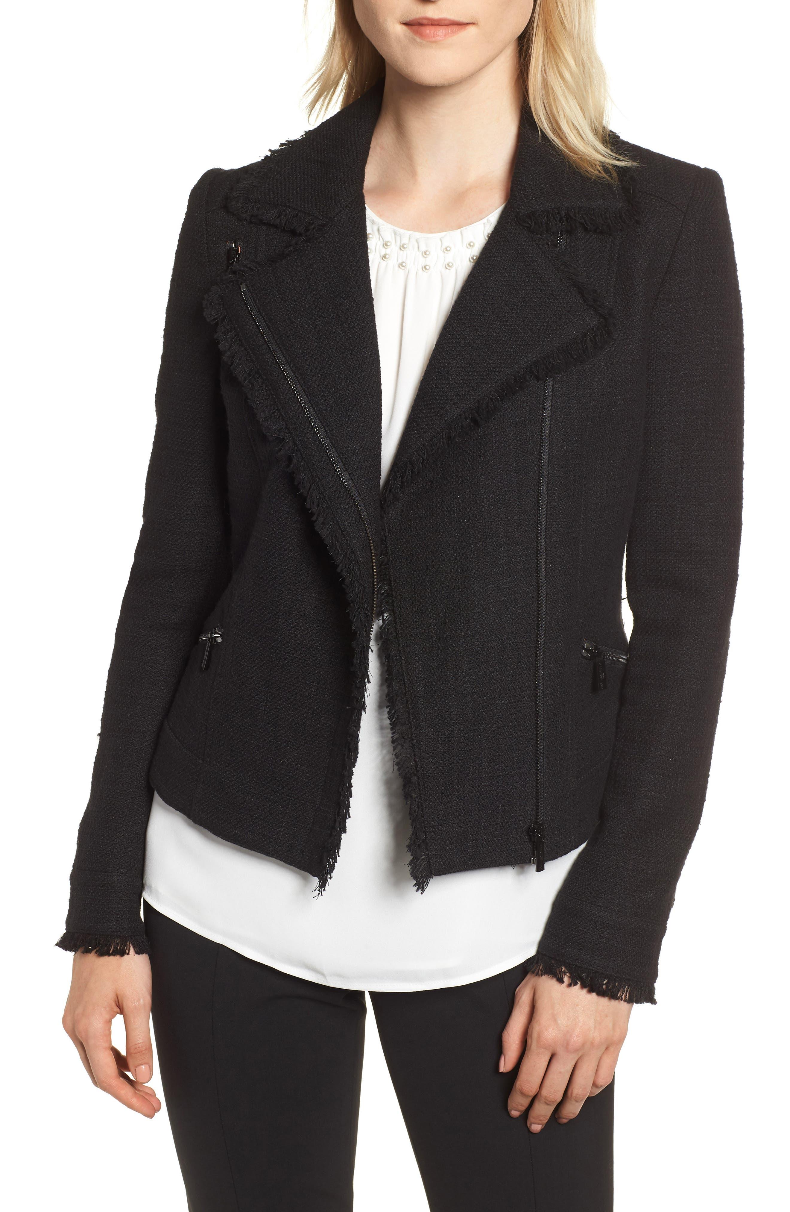 KARL LAGERFELD PARIS,                             Tweed Moto Jacket,                             Main thumbnail 1, color,                             001