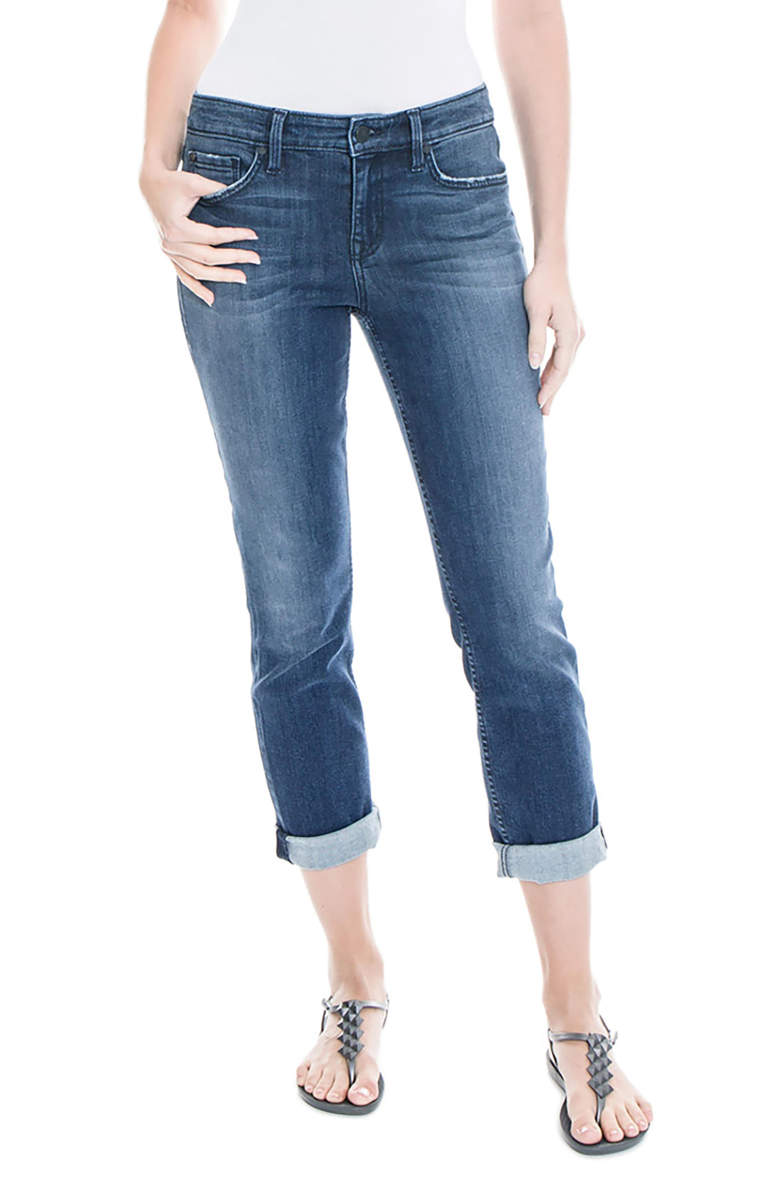 Lily Stretch Distressed Crop Cuff Jeans,                             Main thumbnail 2, color,