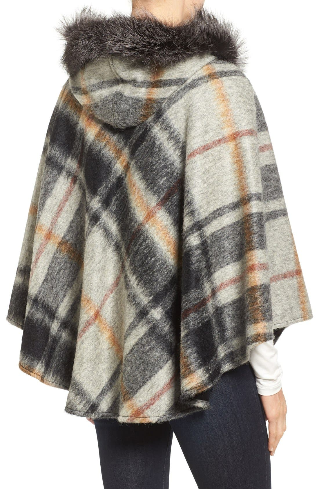 HISO,                             Hide Society Hooded Plaid Cape with Genuine Fox Fur Trim,                             Alternate thumbnail 3, color,                             020