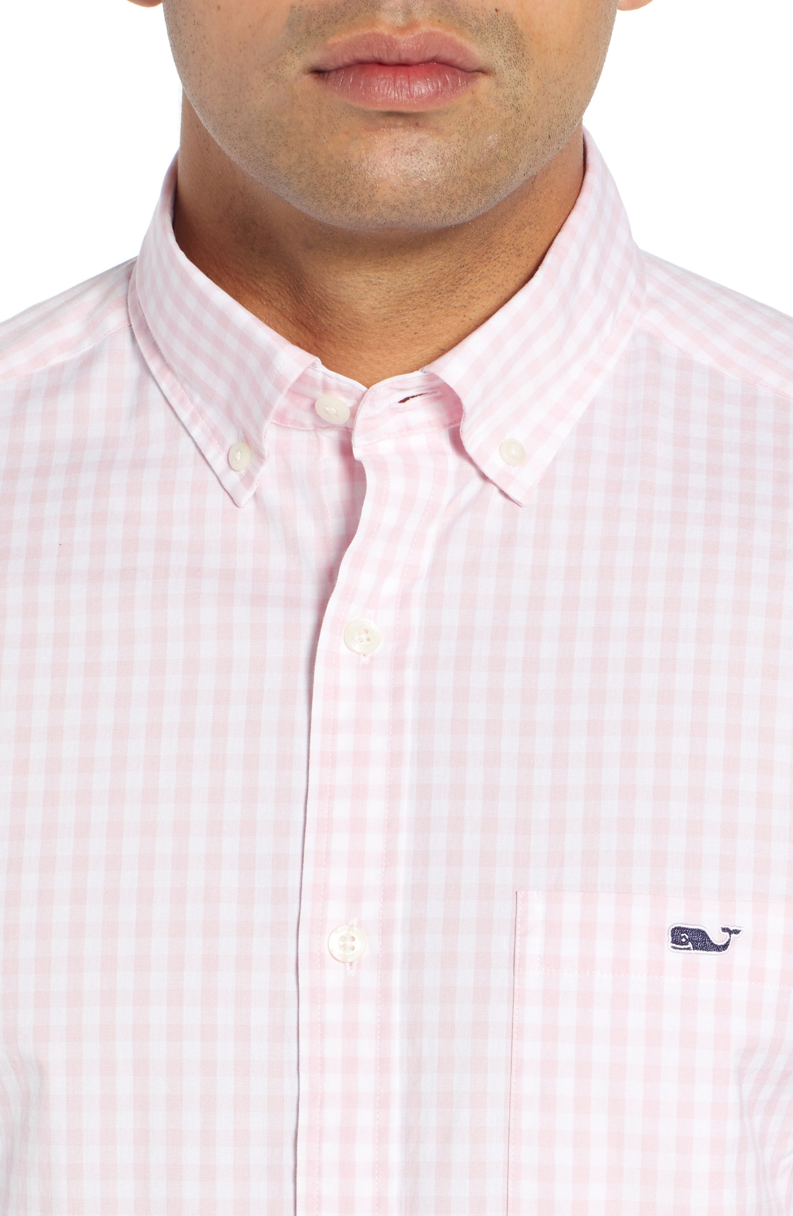 Carleton Classic Fit Gingham Buttondown Shirt,                             Alternate thumbnail 2, color,                             FLAMINGO