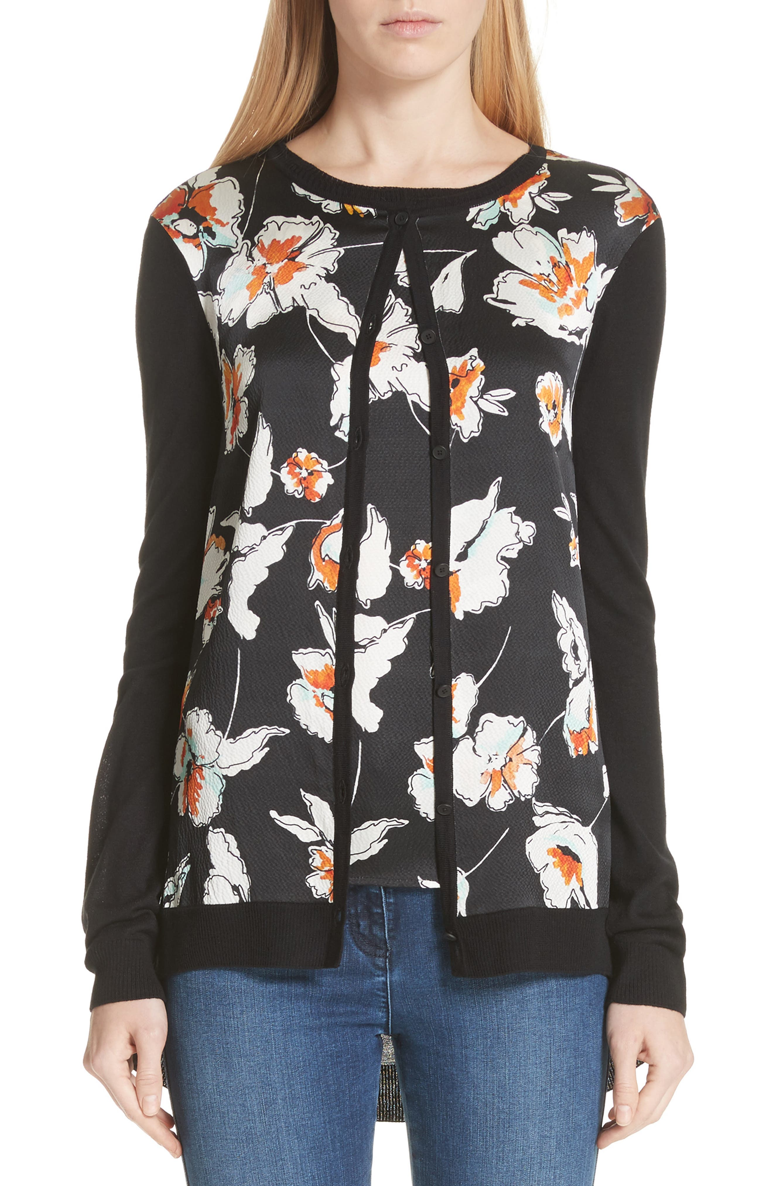 Modern Floral Hammered Satin & Jersey Knit Cardigan,                             Main thumbnail 1, color,                             CAVIAR MULTI