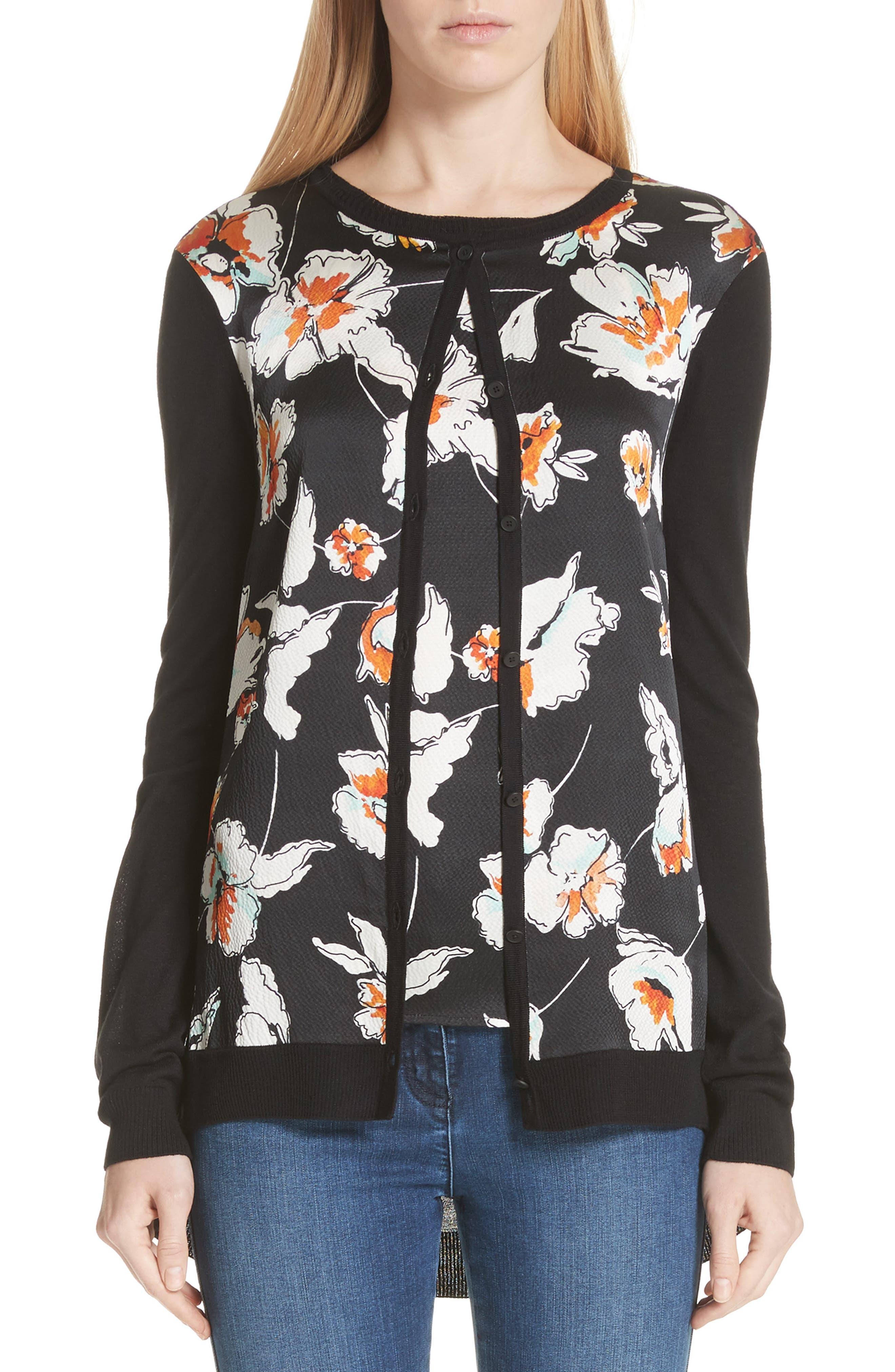 Modern Floral Hammered Satin & Jersey Knit Cardigan,                         Main,                         color, CAVIAR MULTI